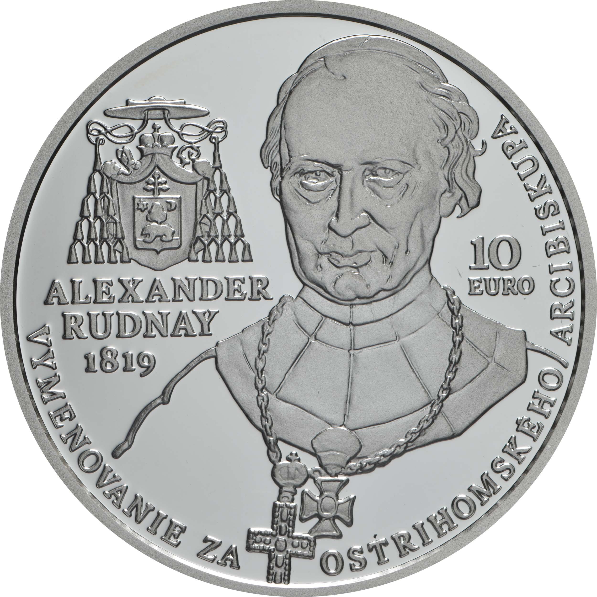 Rückseite:Slowakei : 10 Euro A. Rudnay/100 J. Ernennung zum Erzbischof  2019 PP