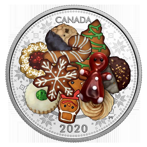Rückseite:Kanada : 20 Dollar Weihnachtskekse - mit Muranoglas - farbig  2020 PP