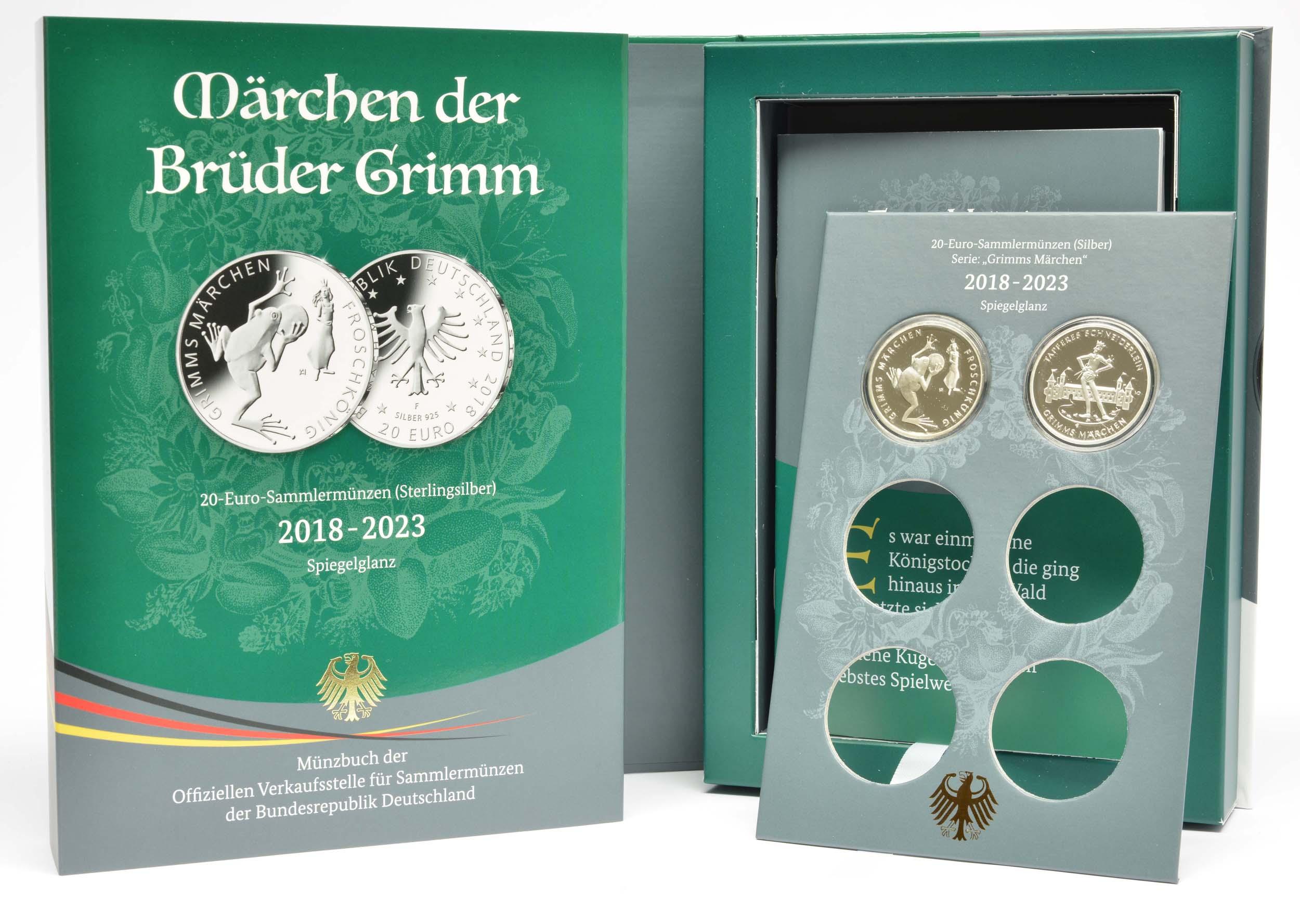 Lieferumfang:Deutschland : 20 Euro Münzsammelbuch Märchen der Brüder Grimm inkl 20 Euro Froschkönig und Tapferes Schneiderlein  2019 PP