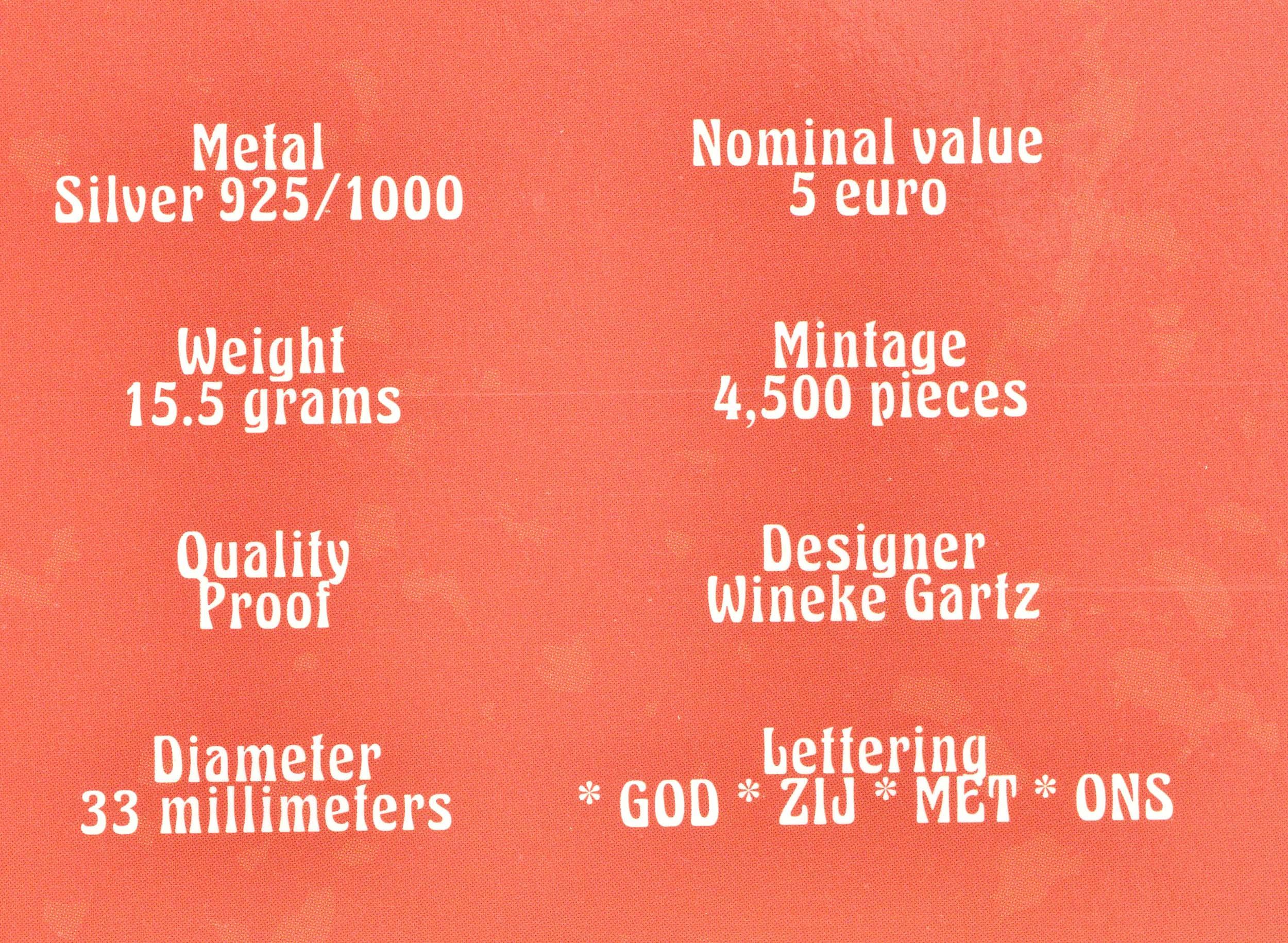 Zertifikat:Niederlande : 5 Euro Jaap Eden  2019 PP