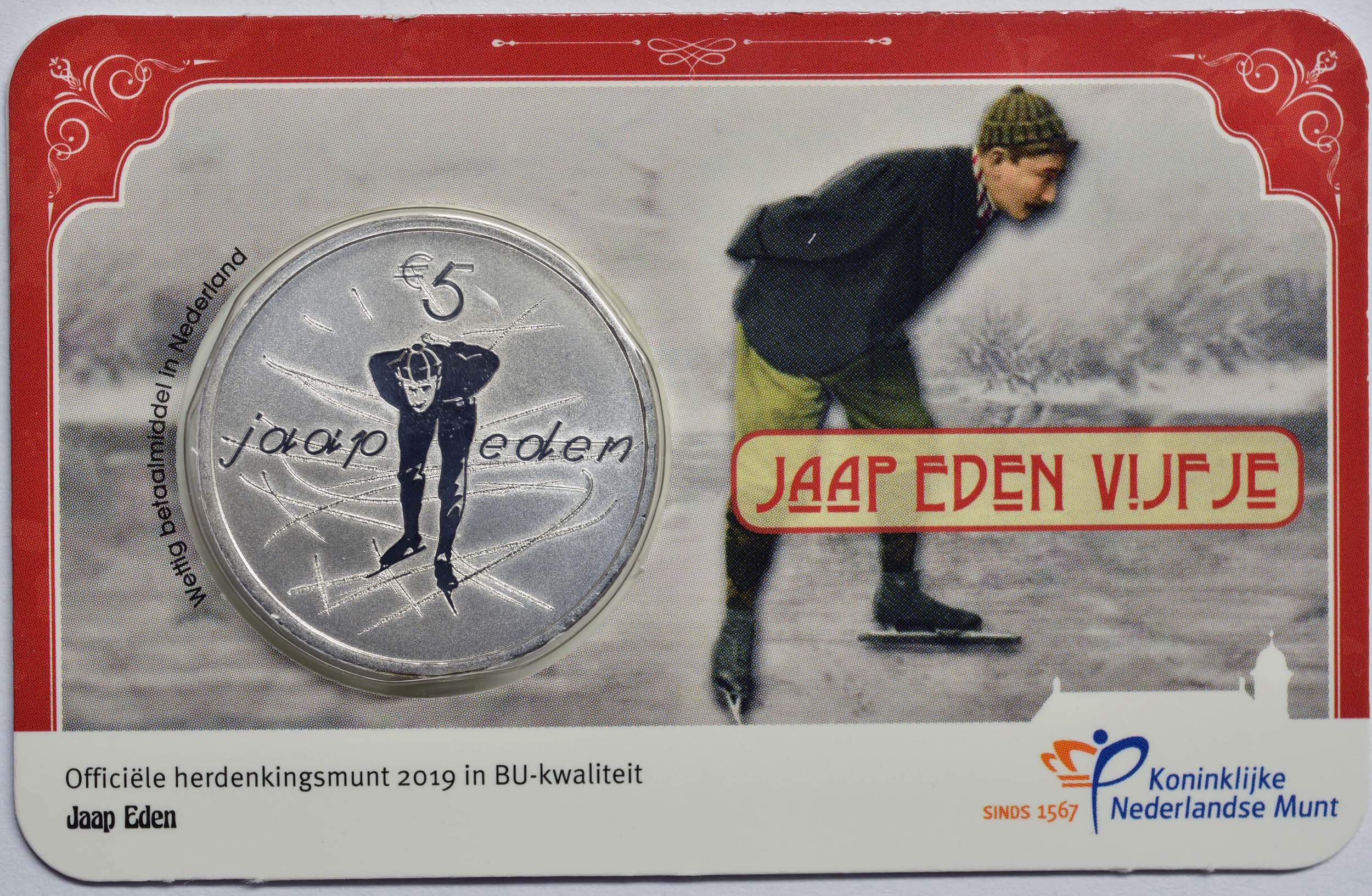 Lieferumfang:Niederlande : 5 Euro Jaap Eden  2019 Stgl.