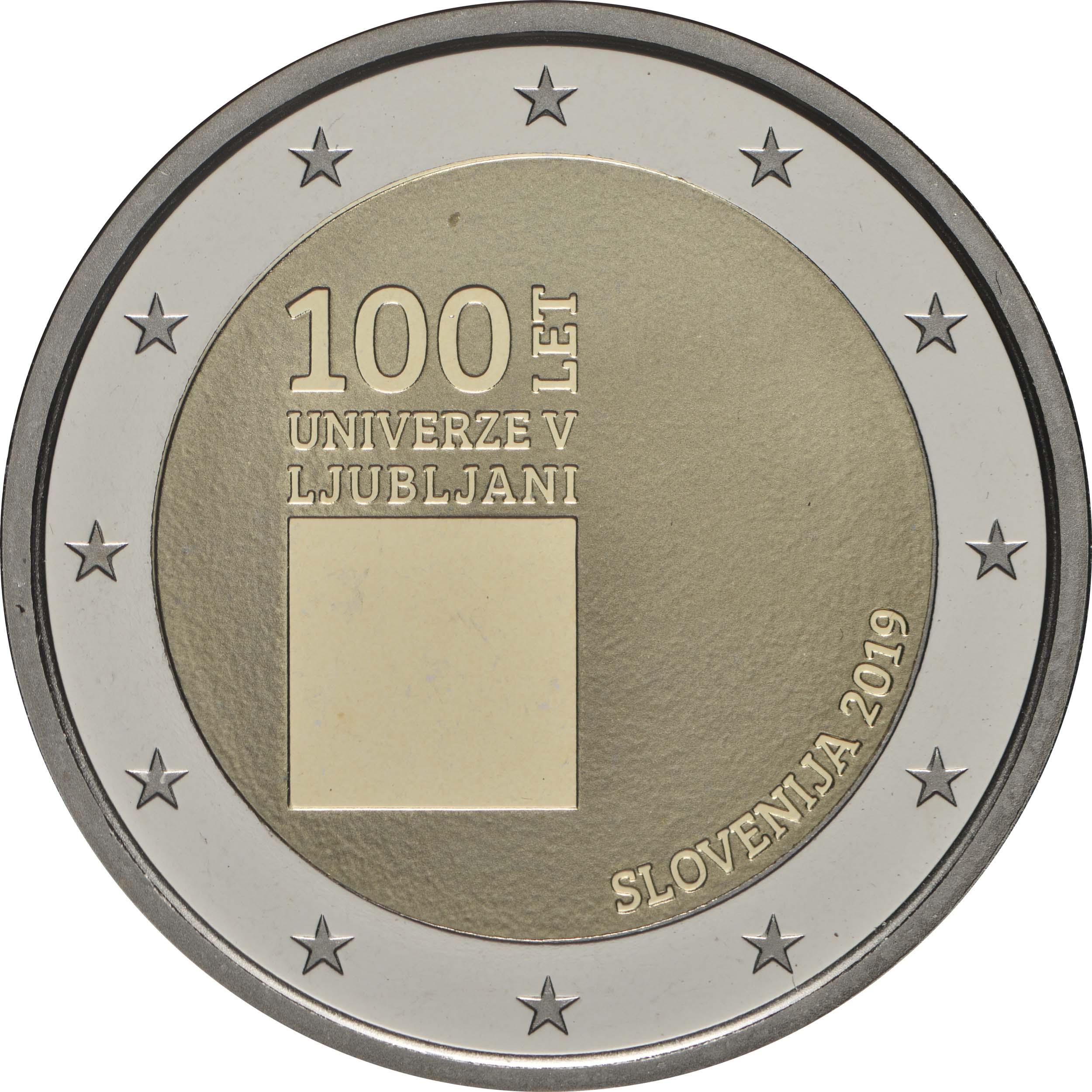 Rückseite:Slowenien : 2 Euro 100. Jahrestag der Gründung der Universität Ljubljana  2019 PP