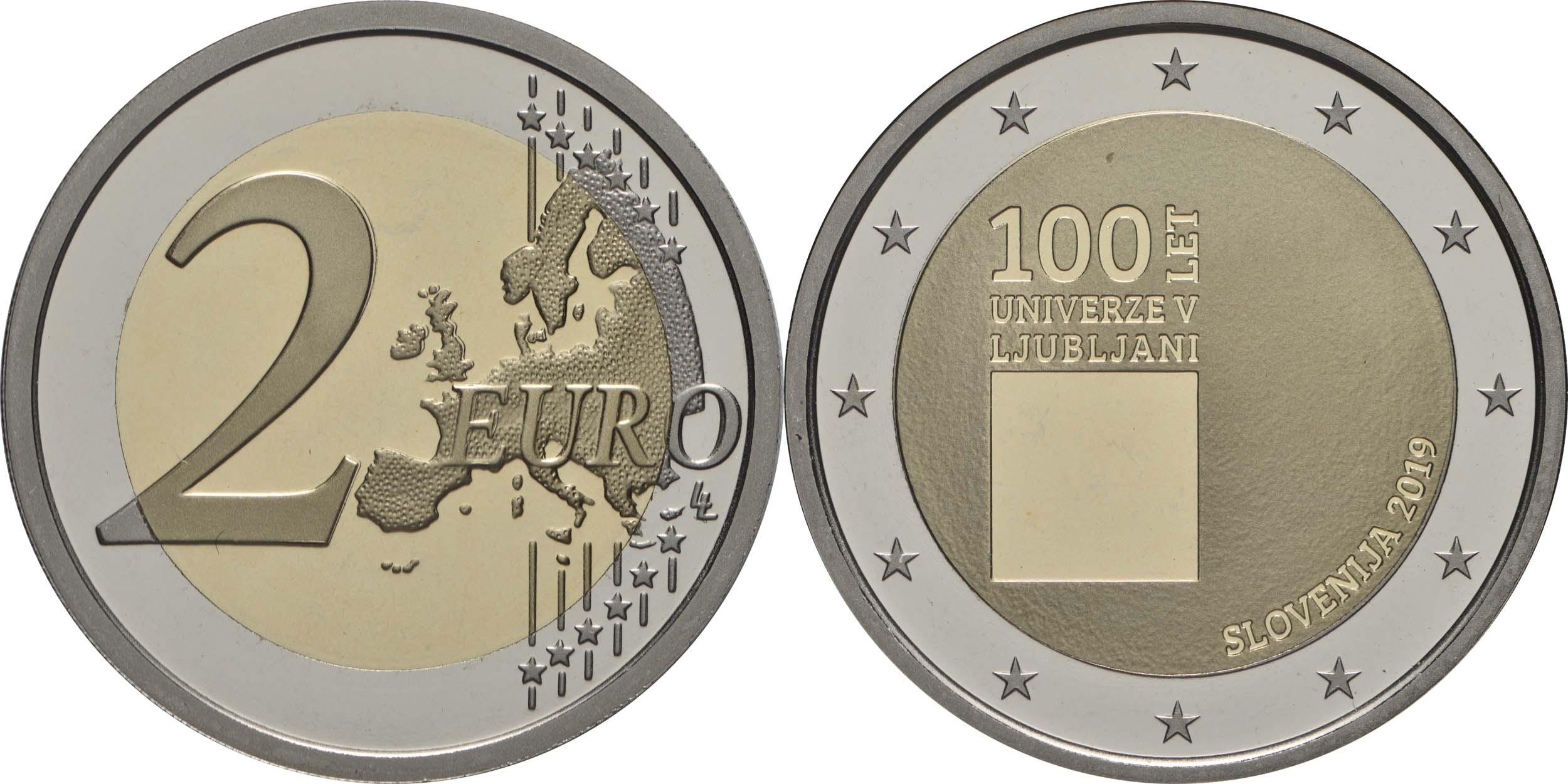 Lieferumfang:Slowenien : 2 Euro 100. Jahrestag der Gründung der Universität Ljubljana  2019 PP