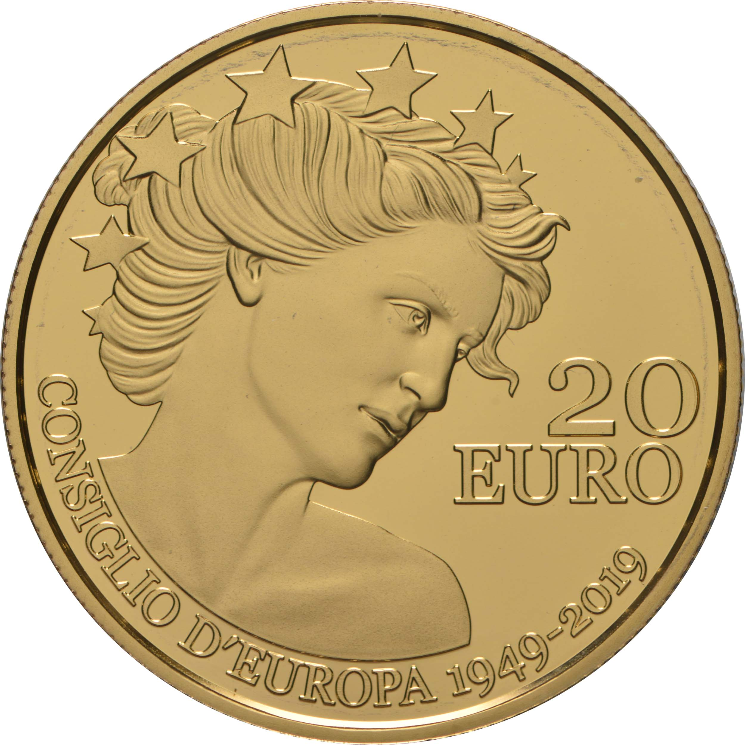 Vorderseite:San Marino : 20 Euro 70 Jahre Europarat  2019 PP