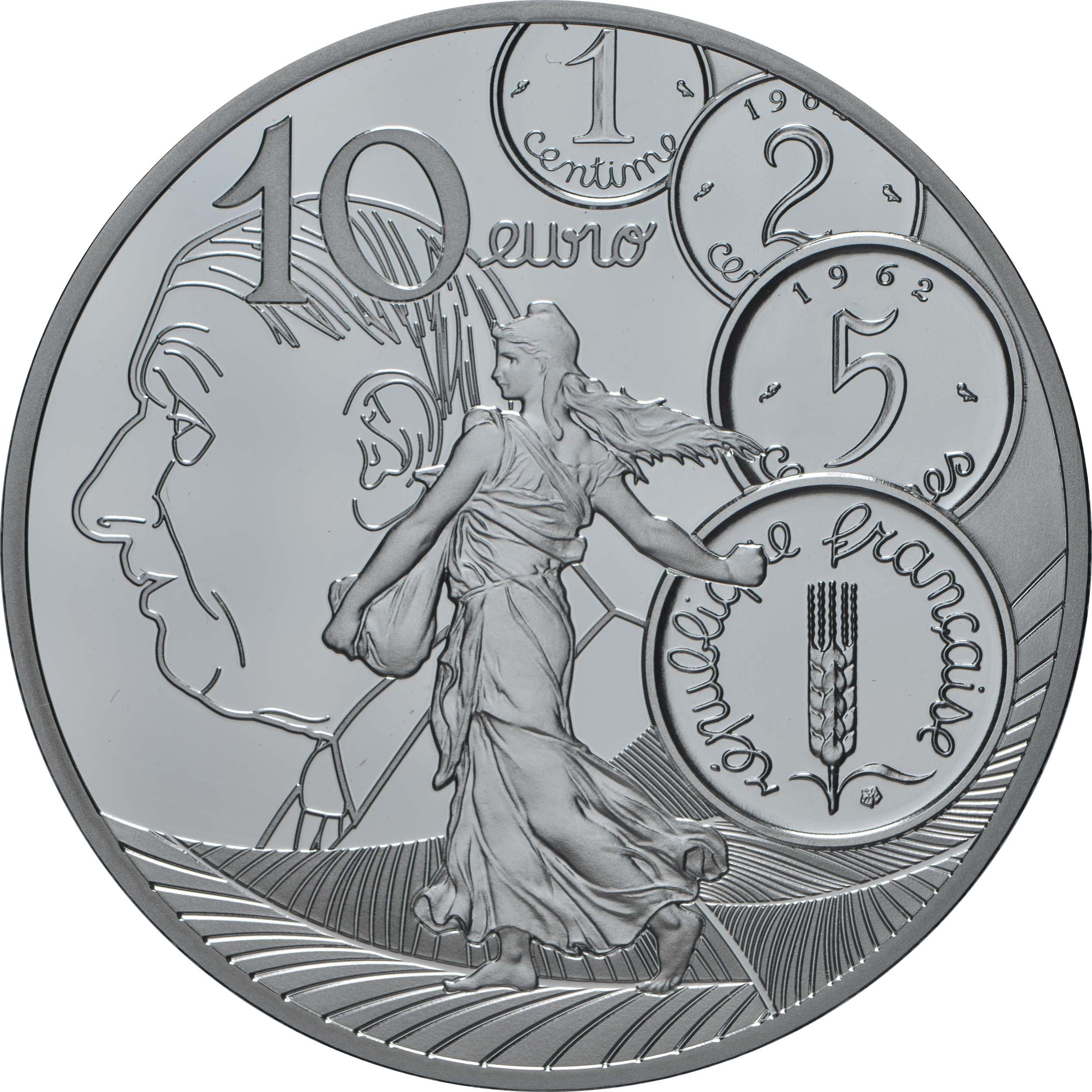 Vorderseite:Frankreich : 10 Euro 60 Jahre neuer Franc  2020 PP