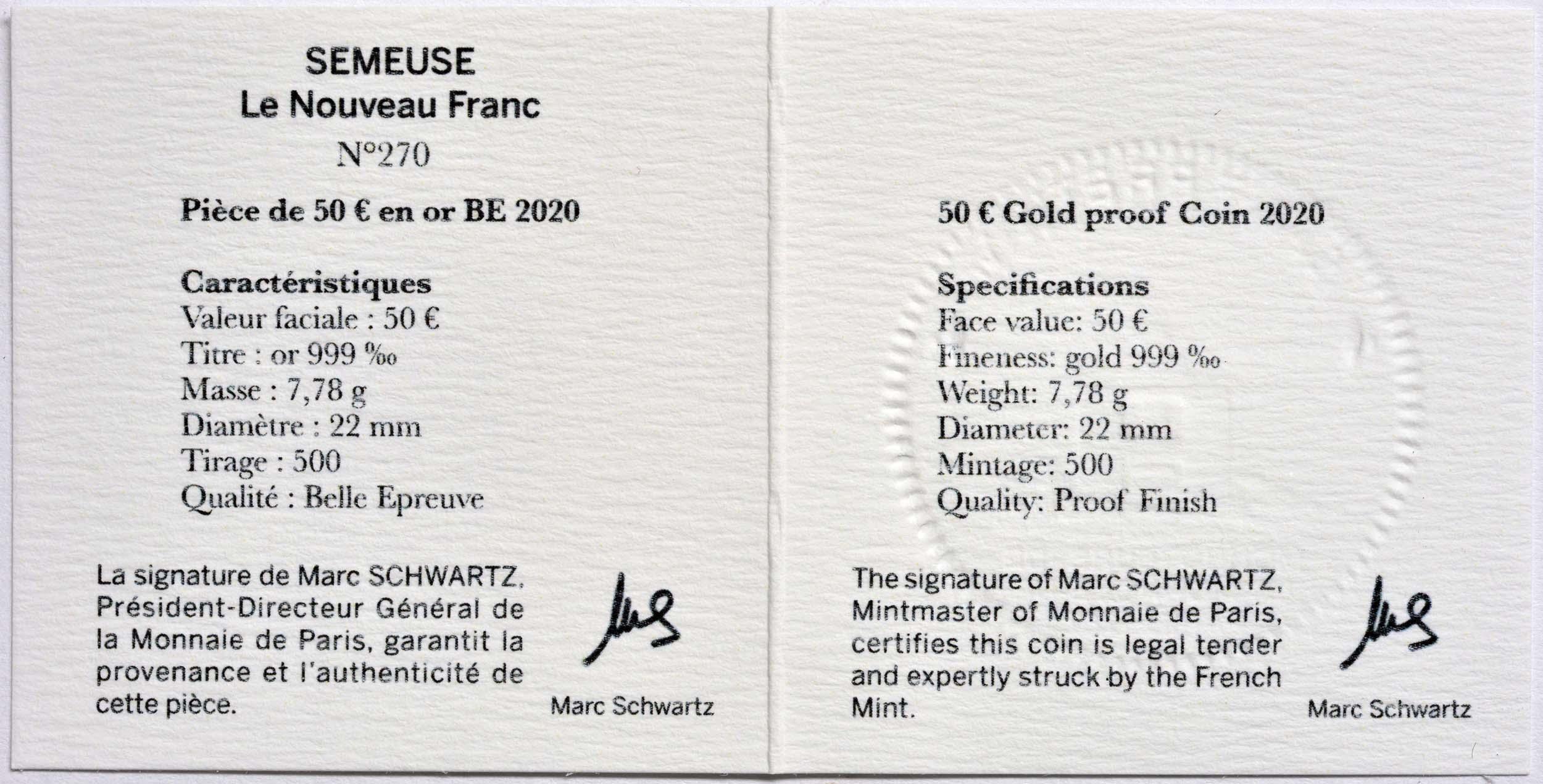 Zertifikat:Frankreich : 50 Euro 60 Jahre neuer Franc  2020 PP