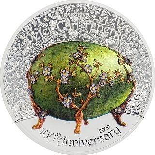 Vorderseite:Mongolei : 1000 T Faberge Ei - 100. Todestag P.C. Faberge  2 oz  2020 PP
