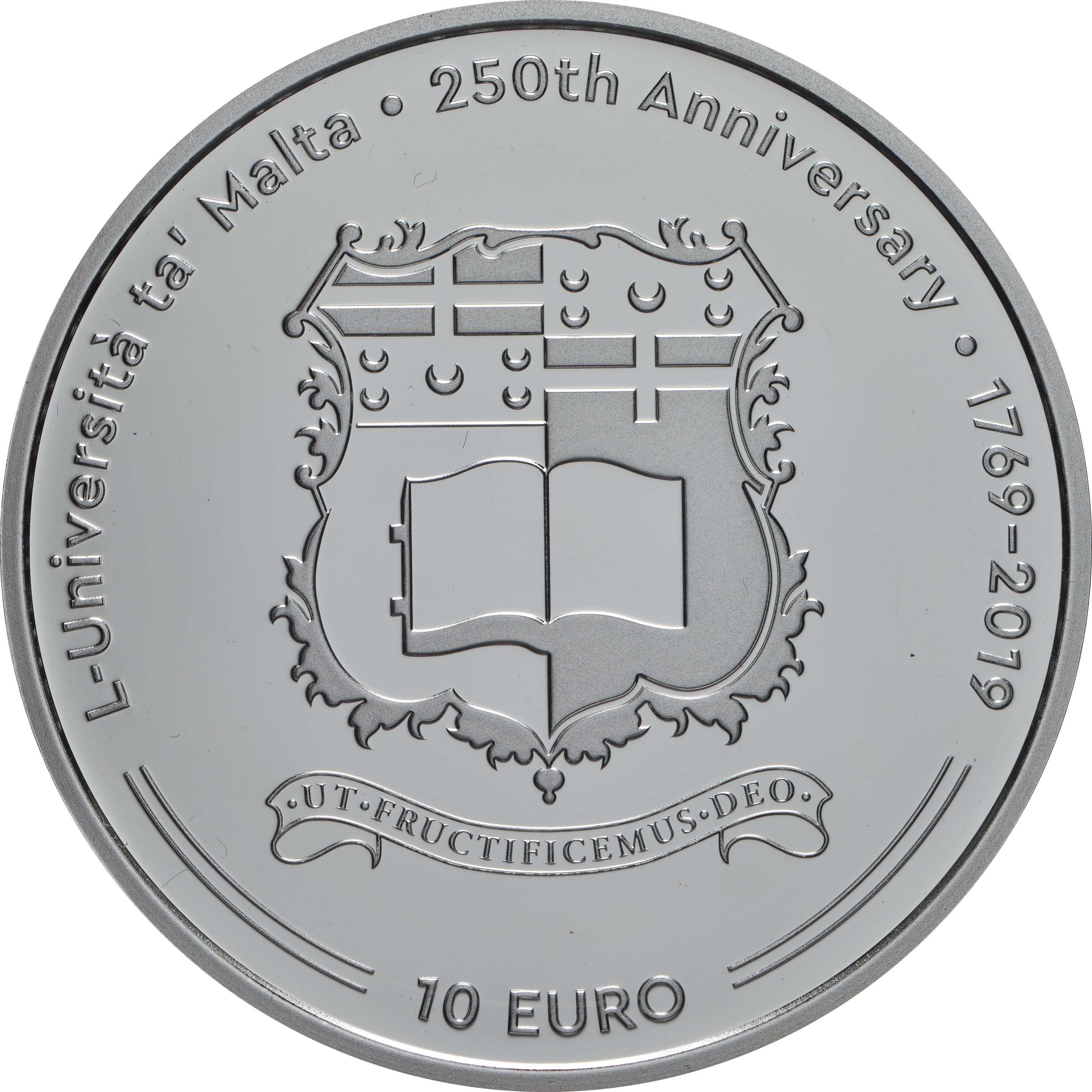 Vorderseite:Malta : 10 Euro 250 Jahre Universität Malta  2019 PP