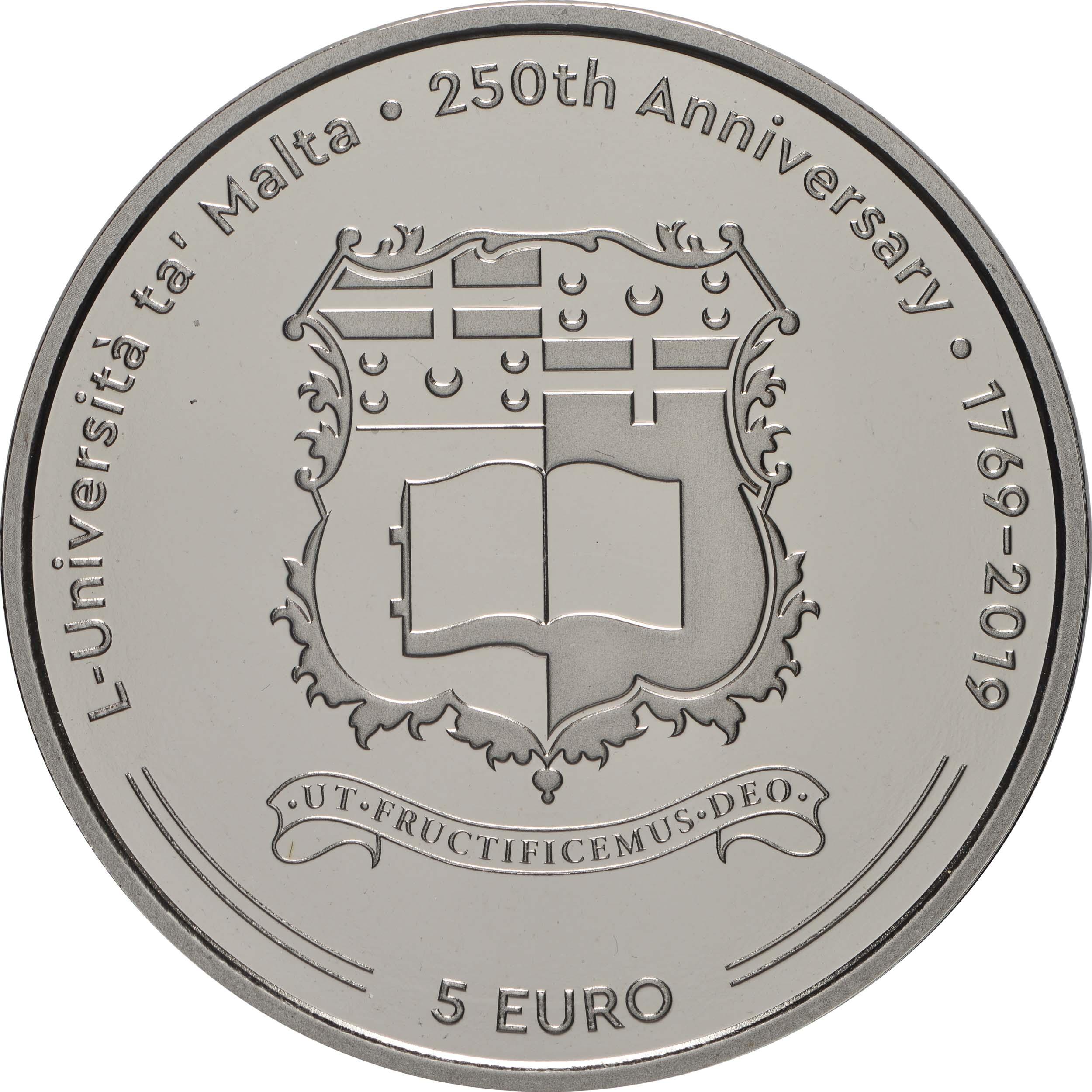 Vorderseite:Malta : 5 Euro 250 Jahre Universität Malta  2019 PP