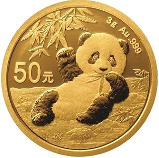 Lieferumfang:China : 50 Yuan Goldpanda 3 gr.  2020 Stgl.