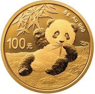 Lieferumfang:China : 100 Yuan Goldpanda 8 gr.  2020 Stgl.