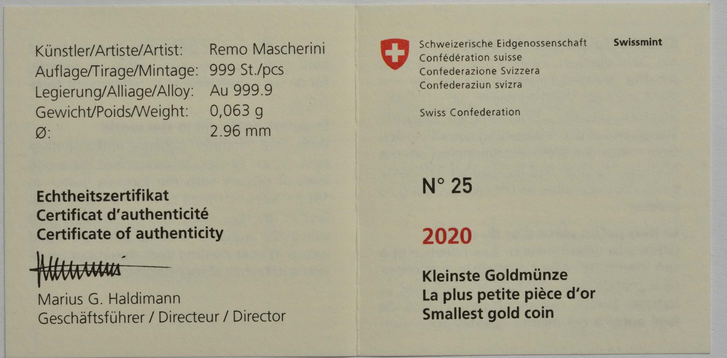 Zertifikat:Schweiz : 1/4 Franken Einstein - kleinste Goldmünze der Welt  2020 PP
