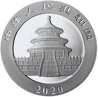 Vorderseite:China : 10 Yuan Silberpanda farbig - Variante 2  2020 Stgl.