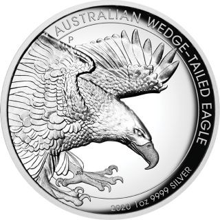 Vorderseite:Australien : 1 Dollar Keilschwanzadler - Highrelief 1 oz  2020 PP