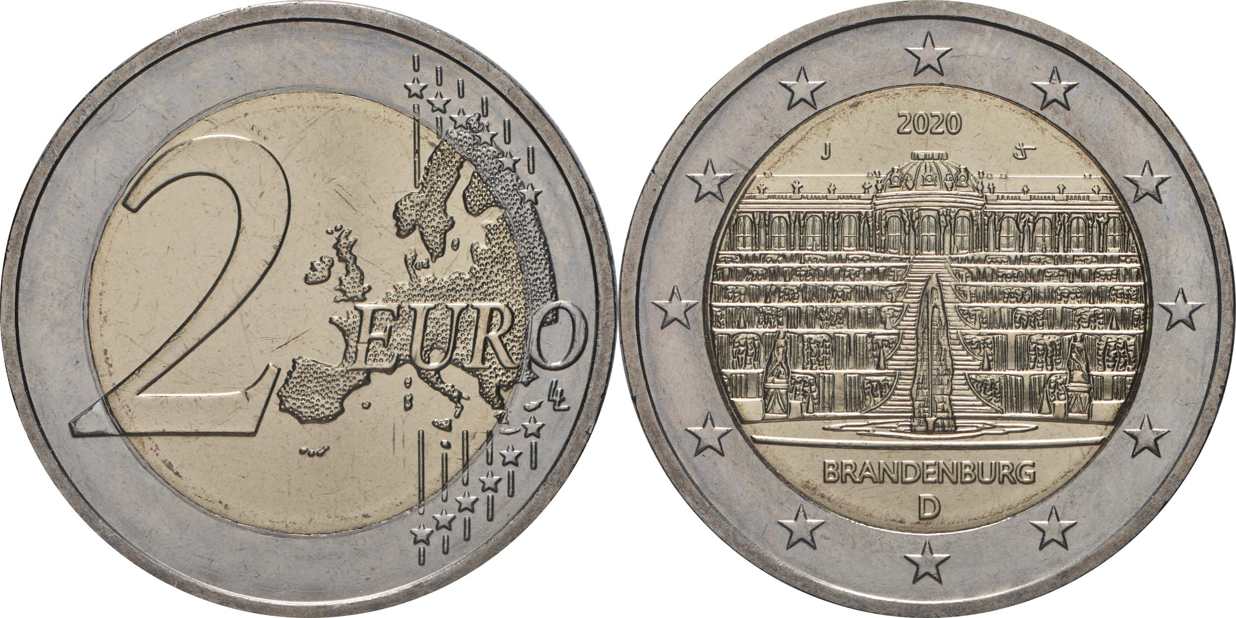 Lieferumfang:Deutschland : 2 Euro Brandenburg - Schloss Sanssouci Buchstabe unserer Wahl   2020 bfr