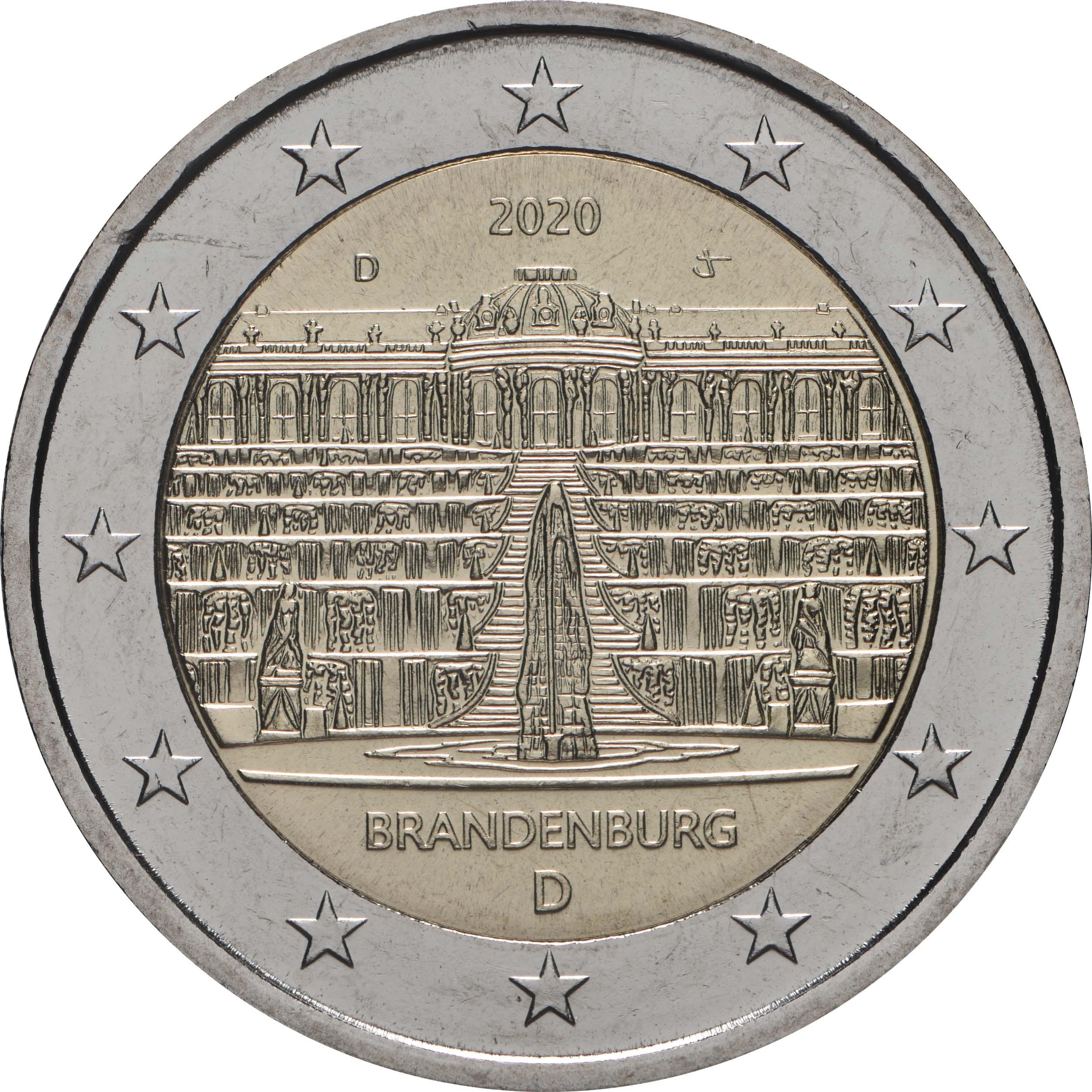 Rückseite:Deutschland : 2 Euro Brandenburg - Schloss Sanssouci  2020 bfr