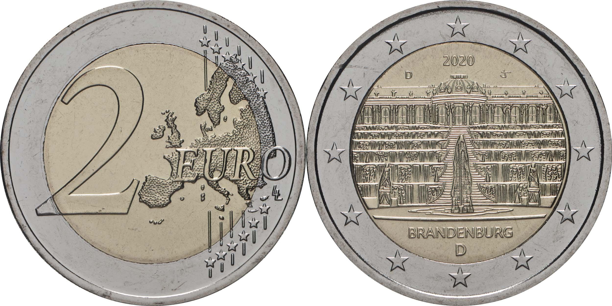 Lieferumfang:Deutschland : 2 Euro Brandenburg - Schloss Sanssouci  2020 bfr