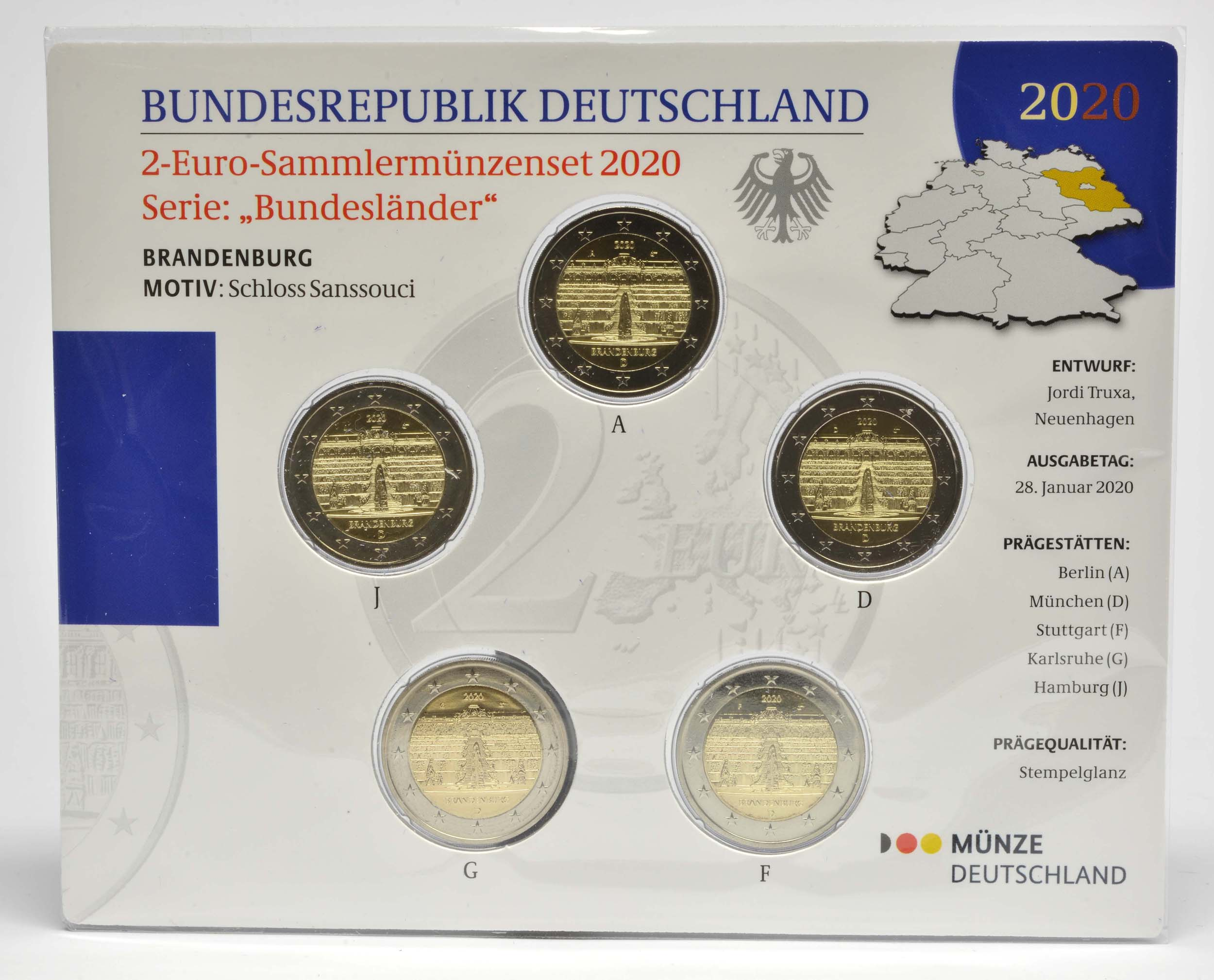 Lieferumfang:Deutschland : 2 Euro Brandenburg - Schloss Sanssouci Komplettsatz 5x2 Euro  2020 Stgl.
