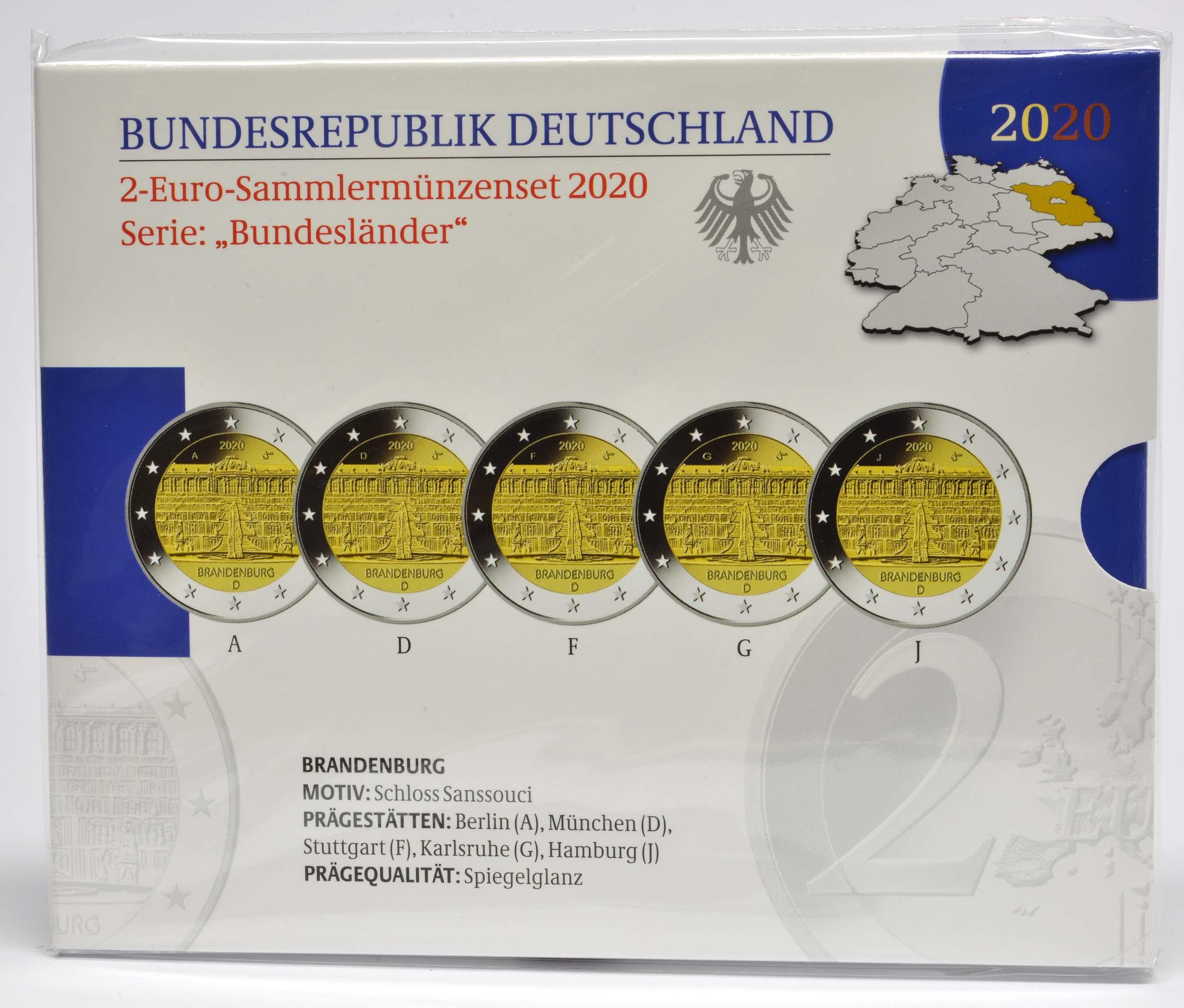 Lieferumfang:Deutschland : 2 Euro Brandenburg - Schloss Sanssouci Komplettsatz 5x2 Euro  2020 PP