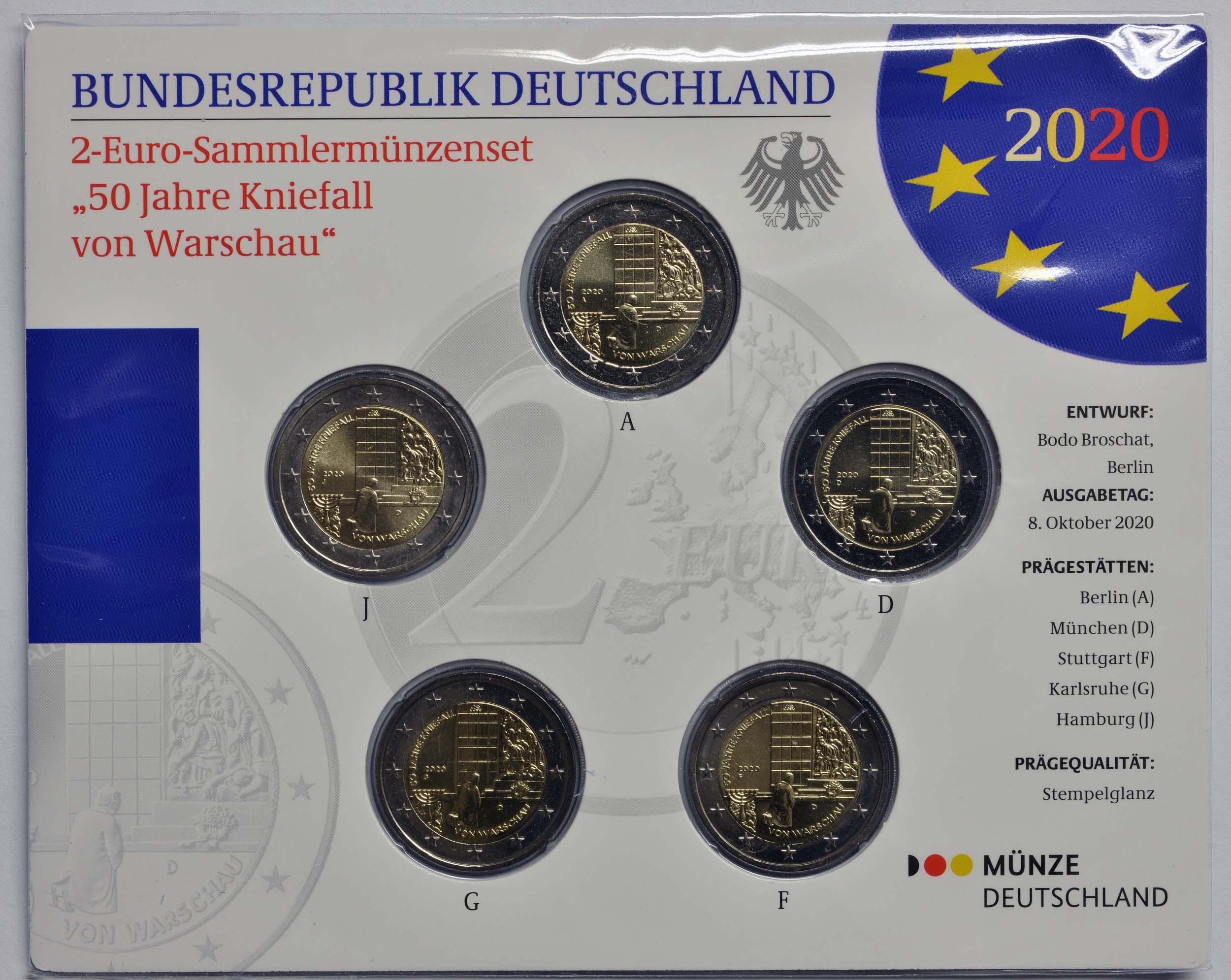 Lieferumfang:Deutschland : 2 Euro 50 Jahre Kniefall von Warschau Komplettsatz 5x2 Euro  2020 Stgl.