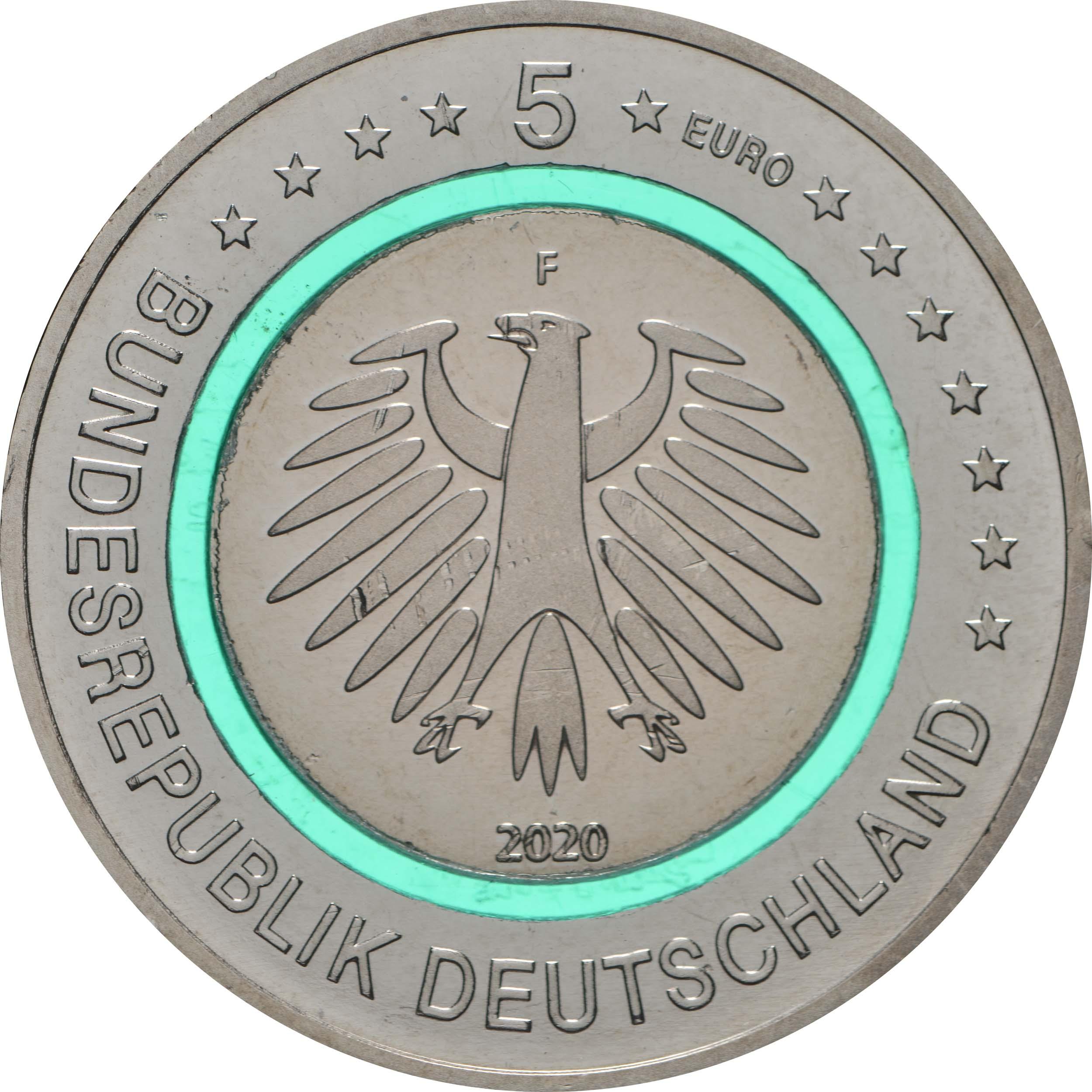 Rückseite:Deutschland : 5 Euro Subpolare Zone - türkis Buchstabe unserer Wahl  2020 bfr