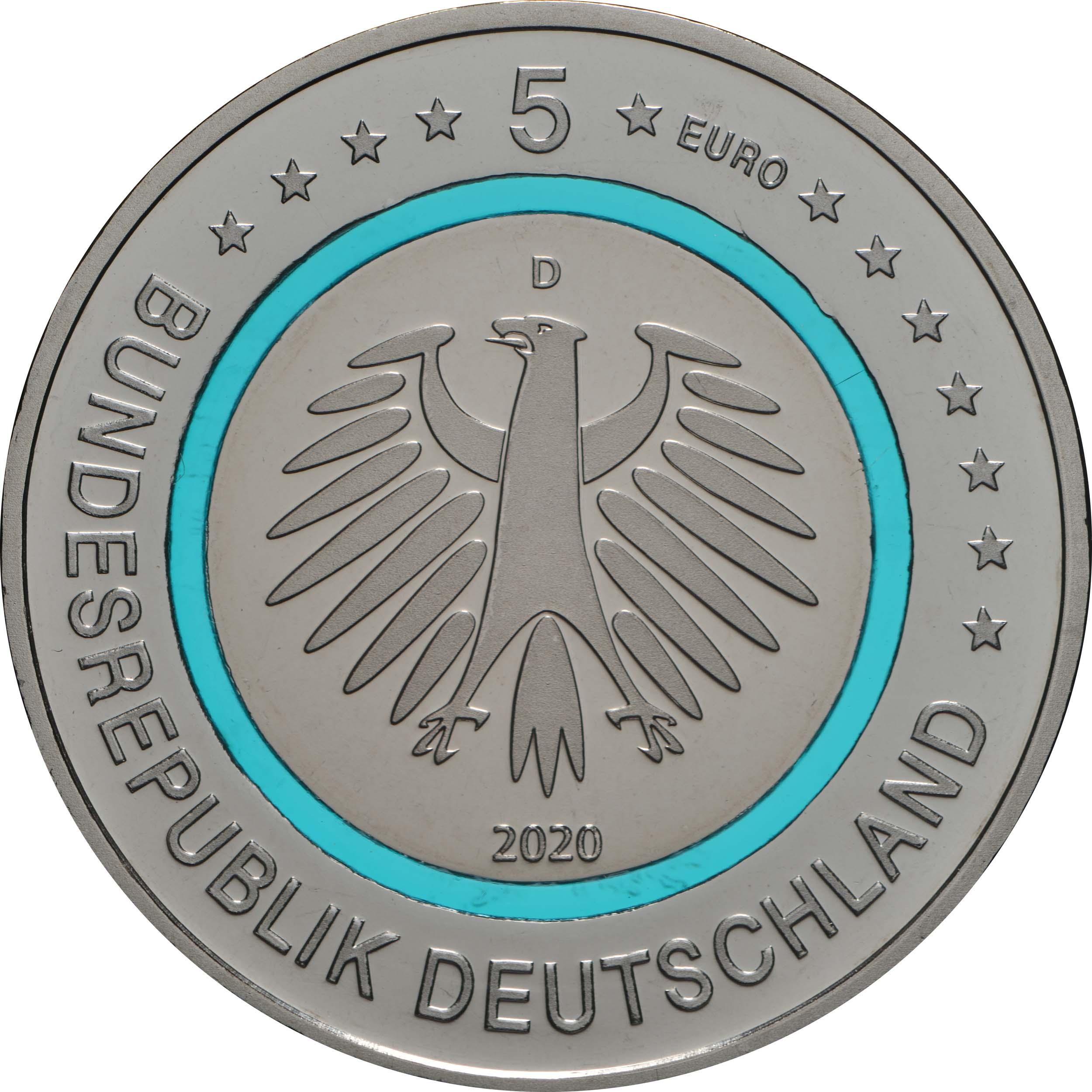 Rückseite:Deutschland : 5 Euro Subpolare Zone - türkis Buchstabe unserer Wahl  2020 PP