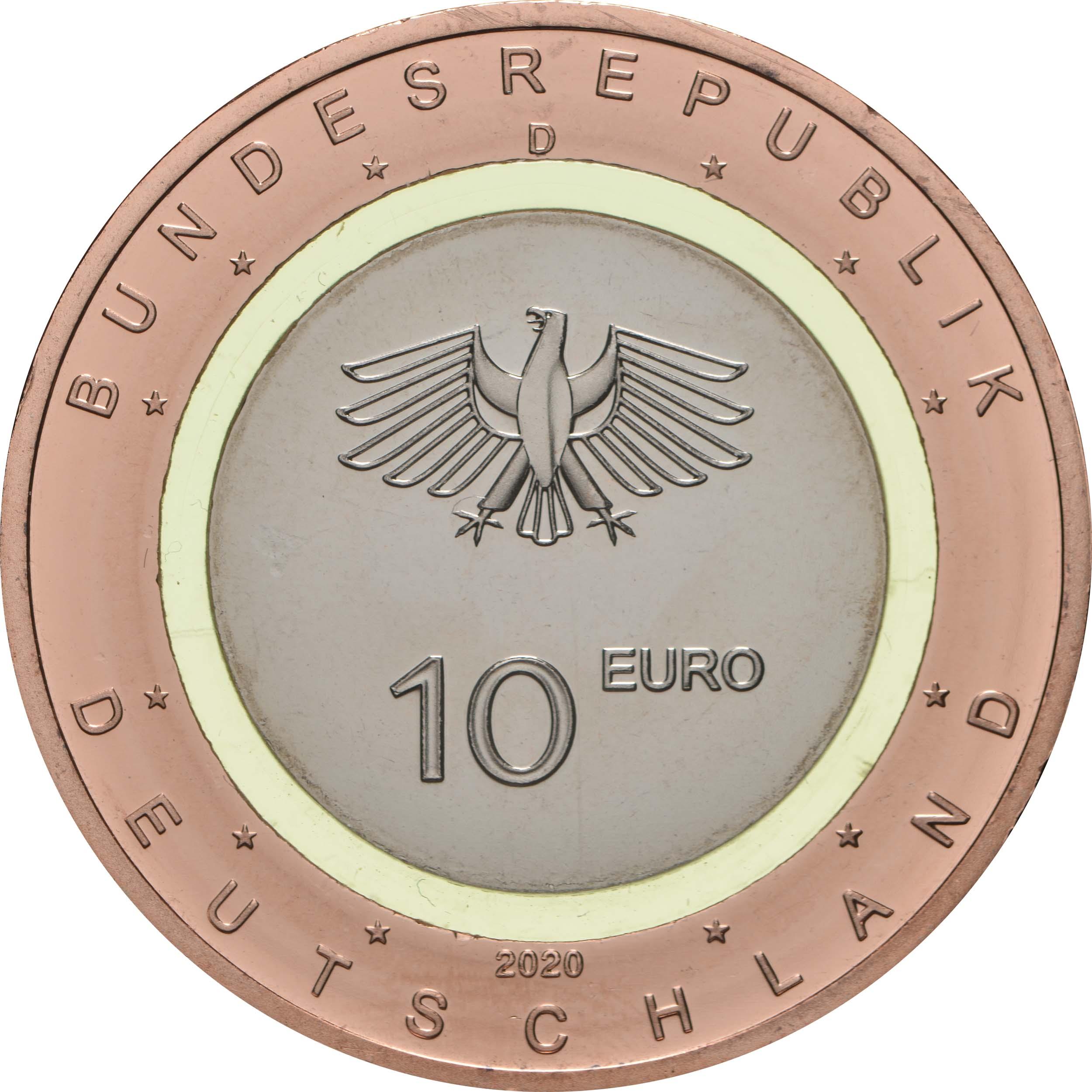 Rückseite:Deutschland : 10 Euro An Land Buchstabe unserer Wahl  2020 bfr