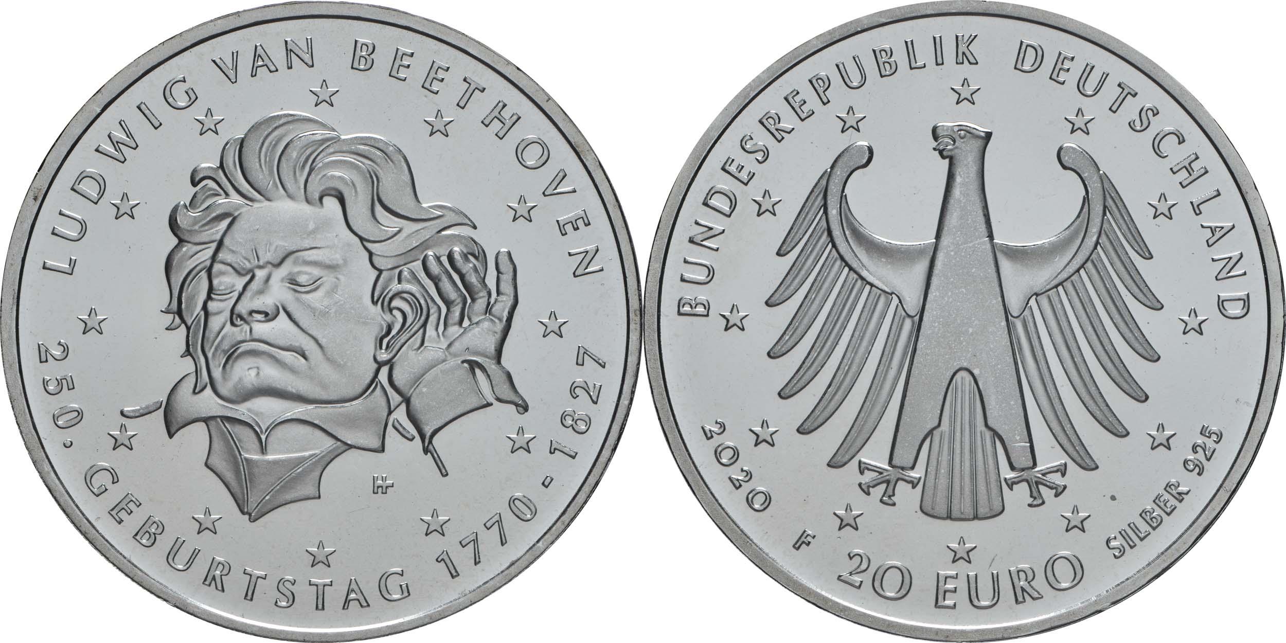 Lieferumfang:Deutschland : 20 Euro 250. Geburtstag Ludwig van Beethoven  2020 bfr