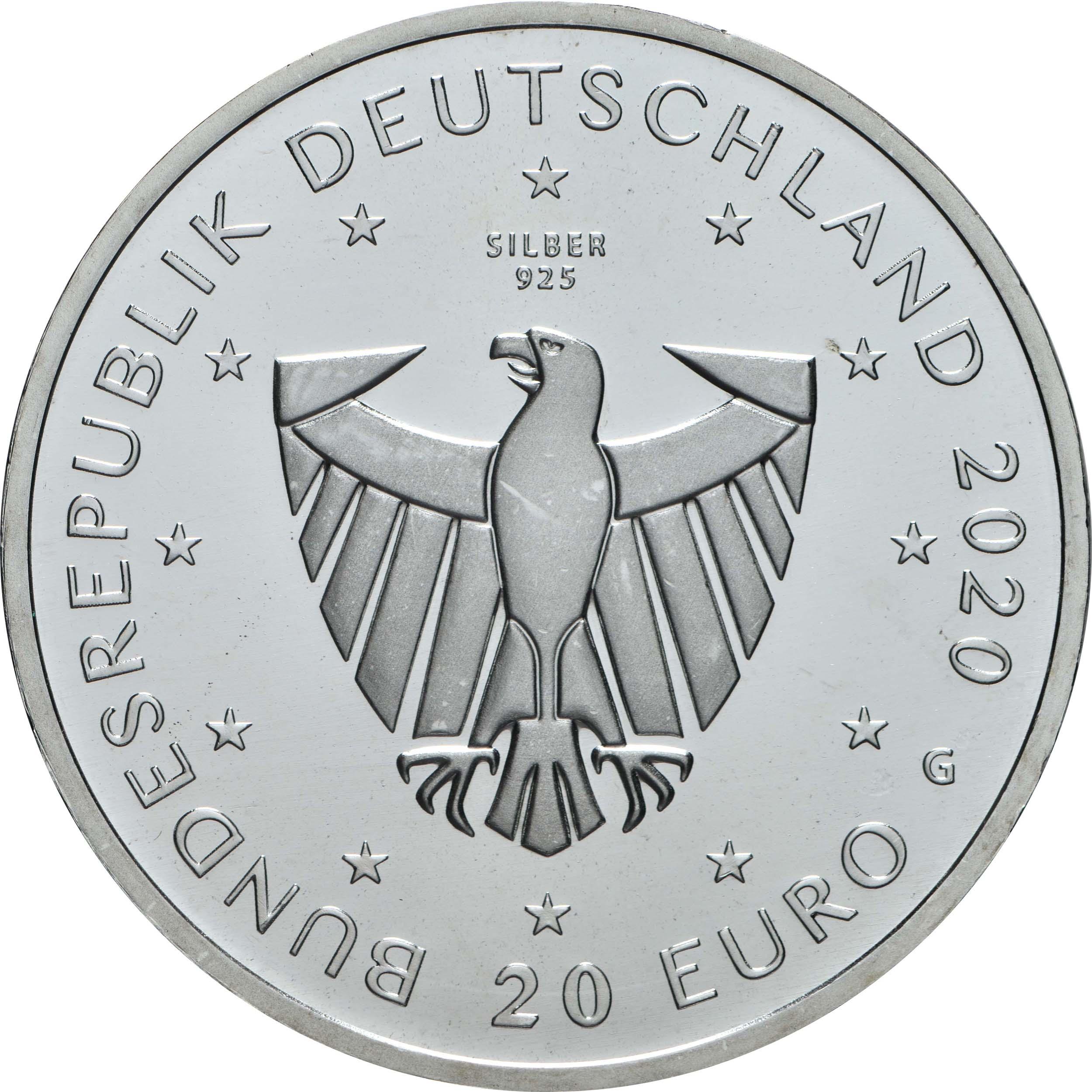 Rückseite:Deutschland : 20 Euro 900 Jahre Freiburg  2020 bfr