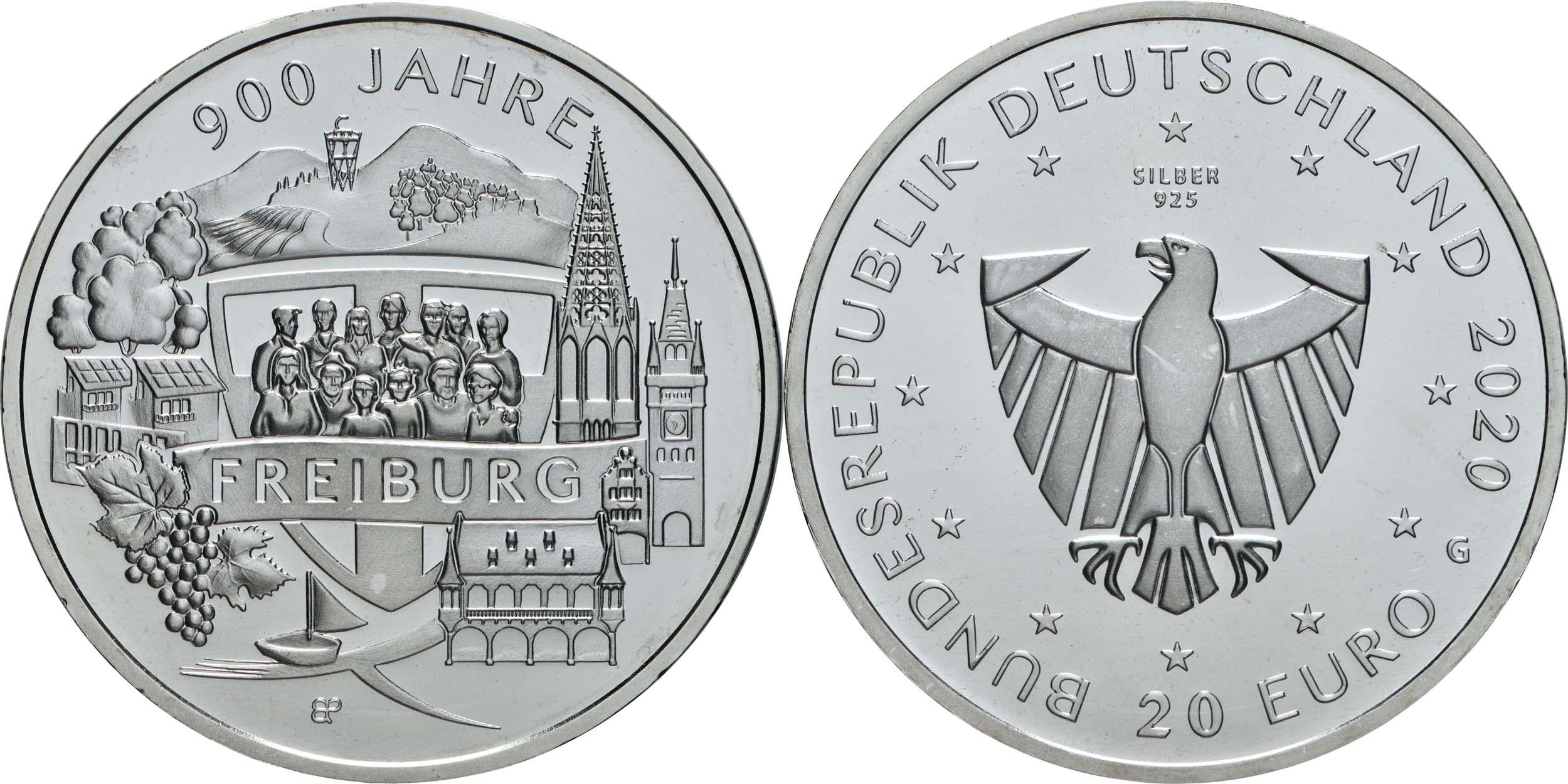 Lieferumfang:Deutschland : 20 Euro 900 Jahre Freiburg  2020 bfr