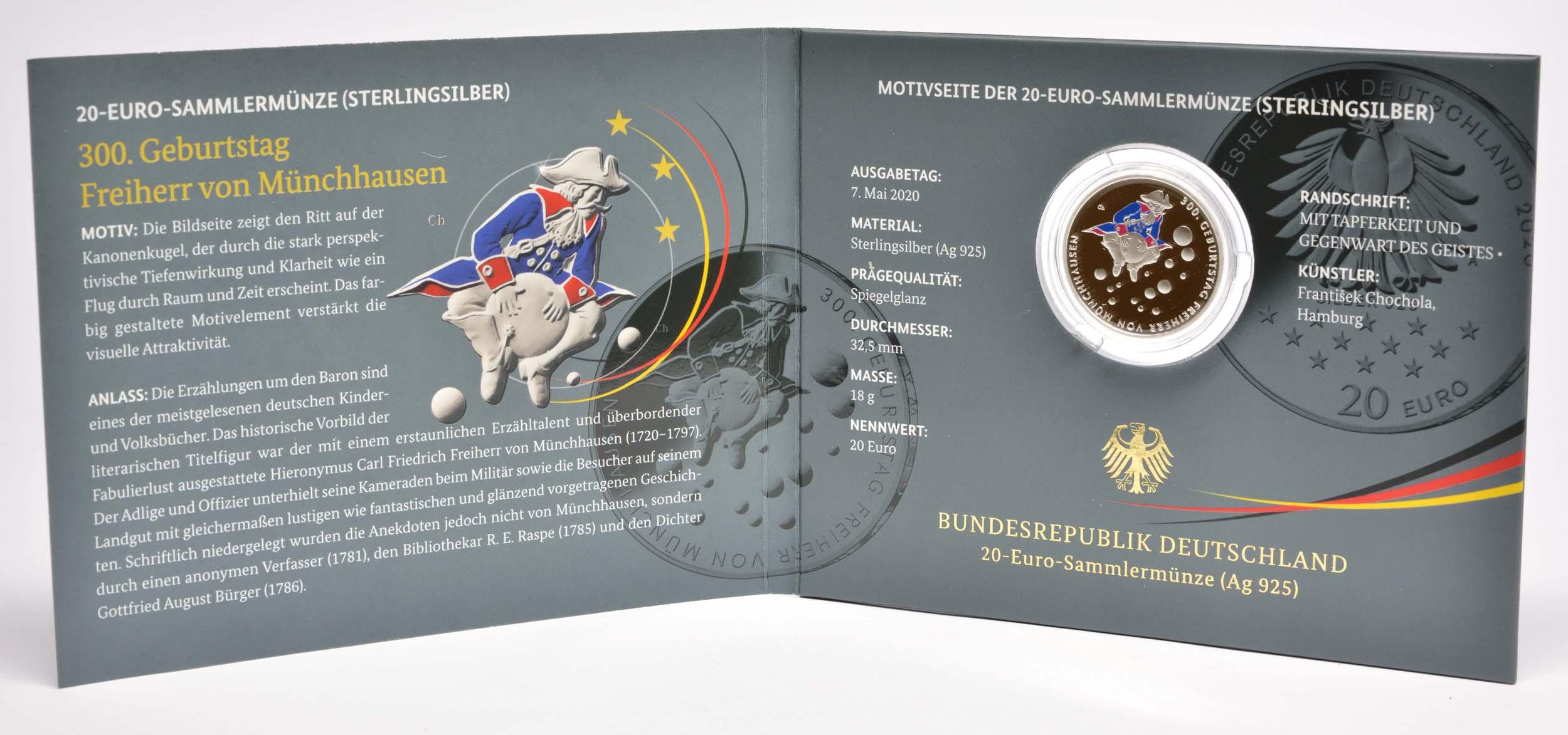 Lieferumfang:Deutschland : 20 Euro 300. Geburtstag Freiherr von Münchhausen  2020 PP