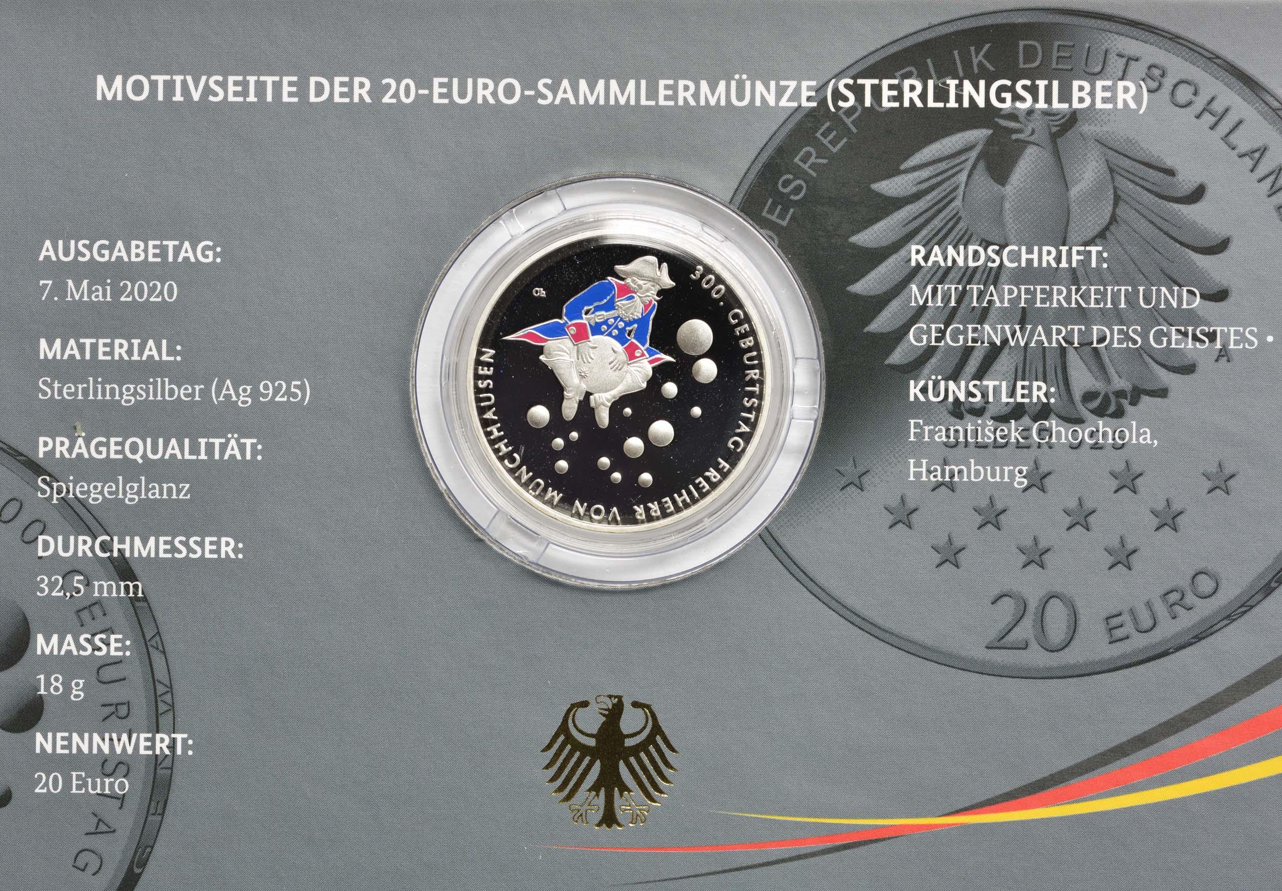 Zertifikat:Deutschland : 20 Euro 300. Geburtstag Freiherr von Münchhausen  2020 PP