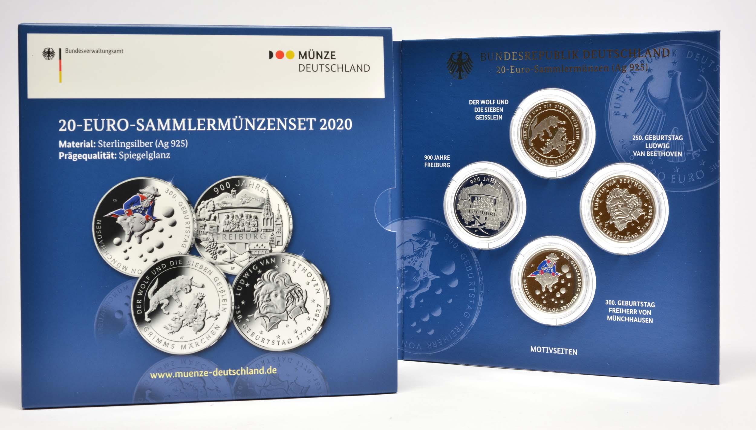 Lieferumfang:Deutschland : 80 Euro 4x20 Euro Ausgaben aus Deutschland des Jahres 2020 (Geißlein, Beethoven, Münchhausen, Freiburg)   2020 PP