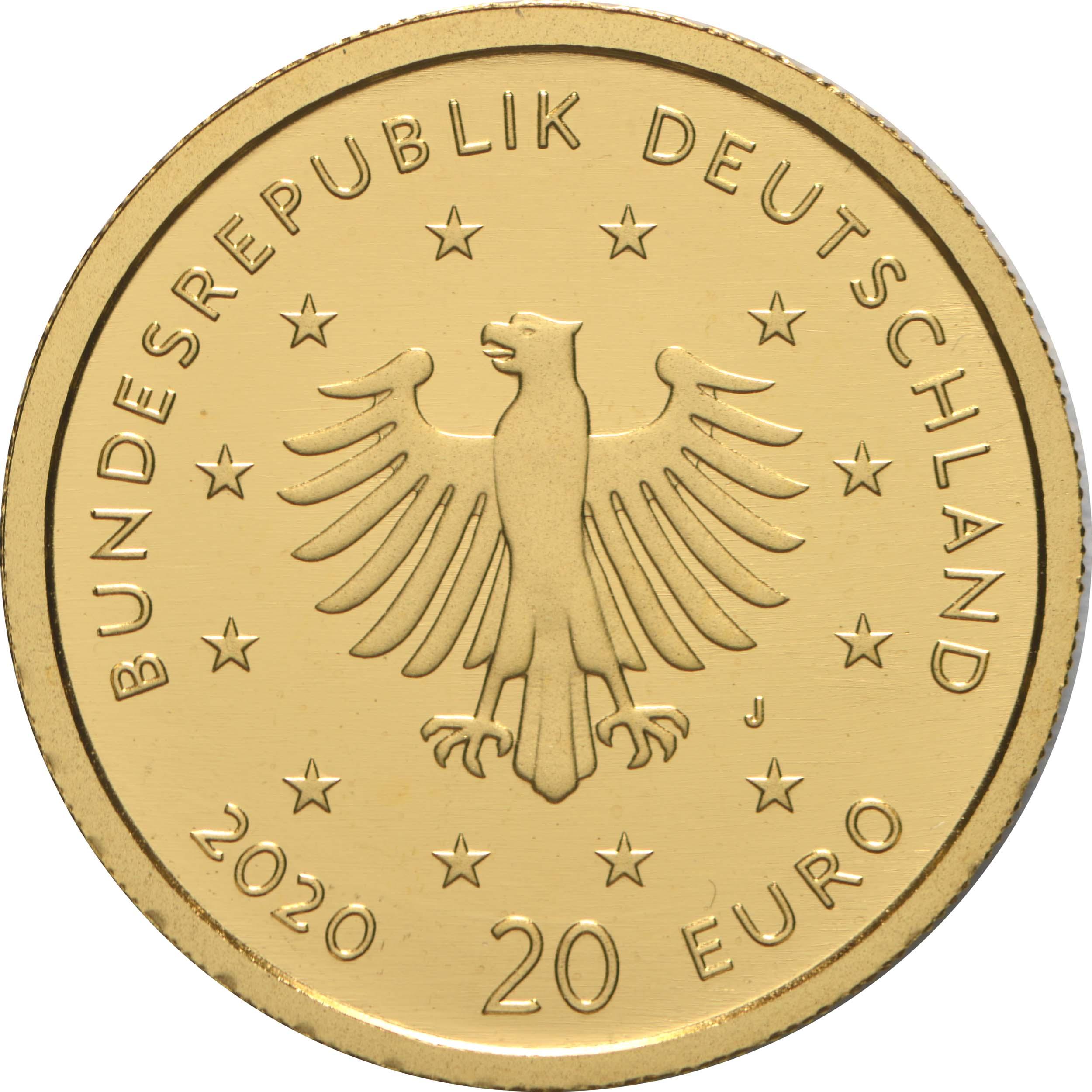 Rückseite:Deutschland : 20 Euro Weißstorch Buchstabe unserer Wahl  2020 Stgl.