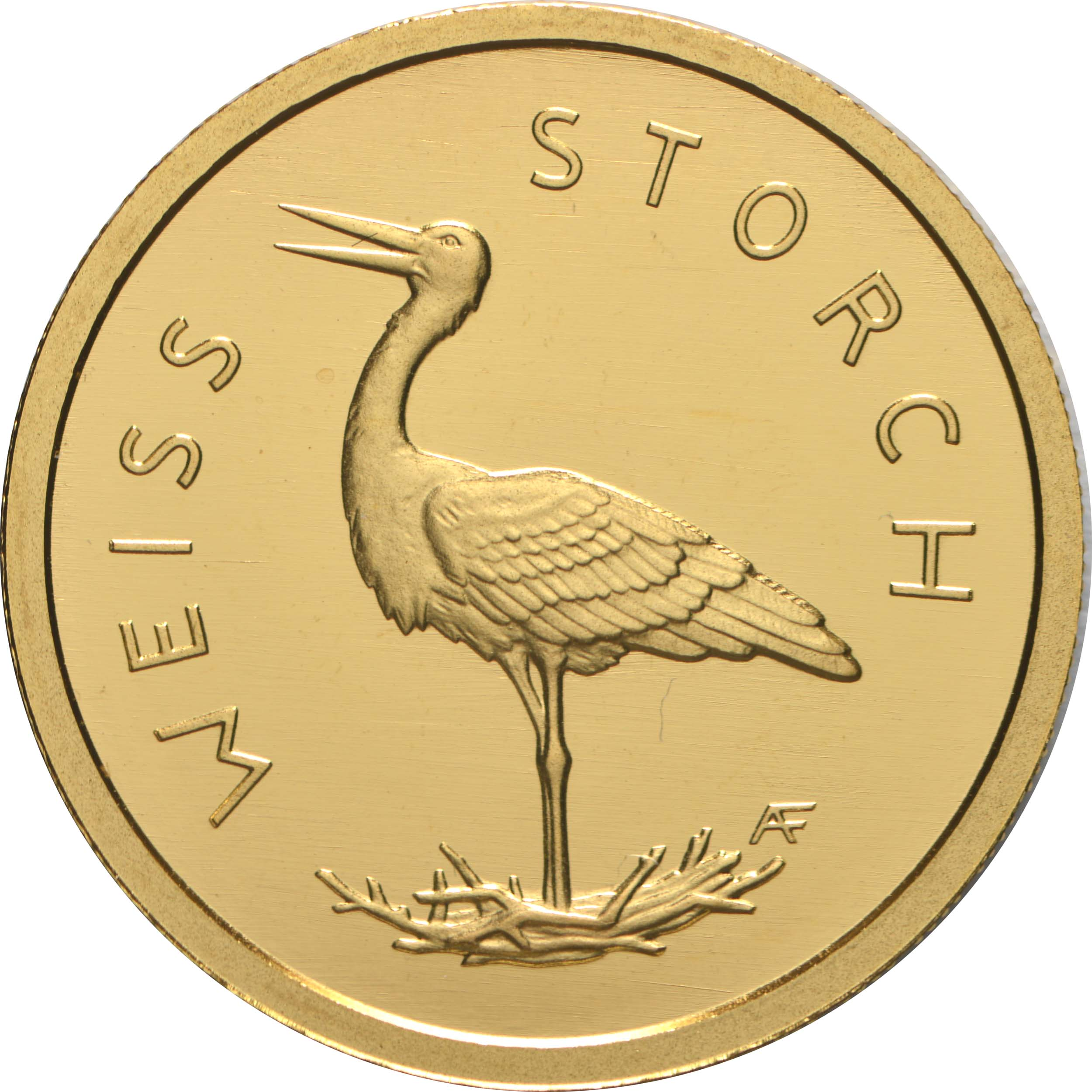 Vorderseite:Deutschland : 20 Euro Weißstorch Buchstabe unserer Wahl  2020 Stgl.