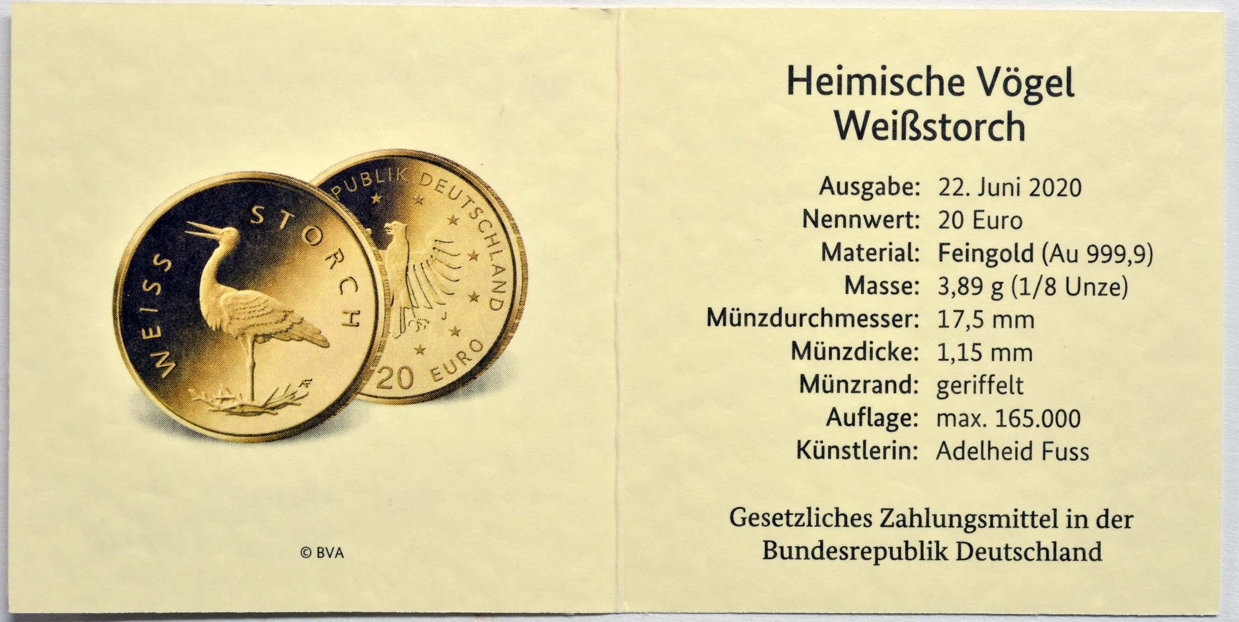 Zertifikat:Deutschland : 20 Euro Weißstorch Buchstabe unserer Wahl  2020 Stgl.