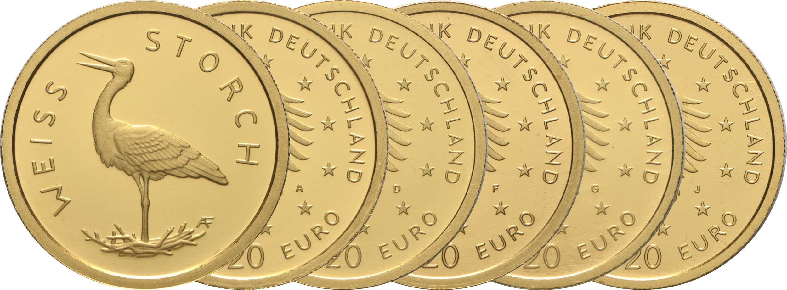 Lieferumfang:Deutschland : 20 Euro Weißstorch Komplettsatz 5 Münzen A-J  2020 Stgl.