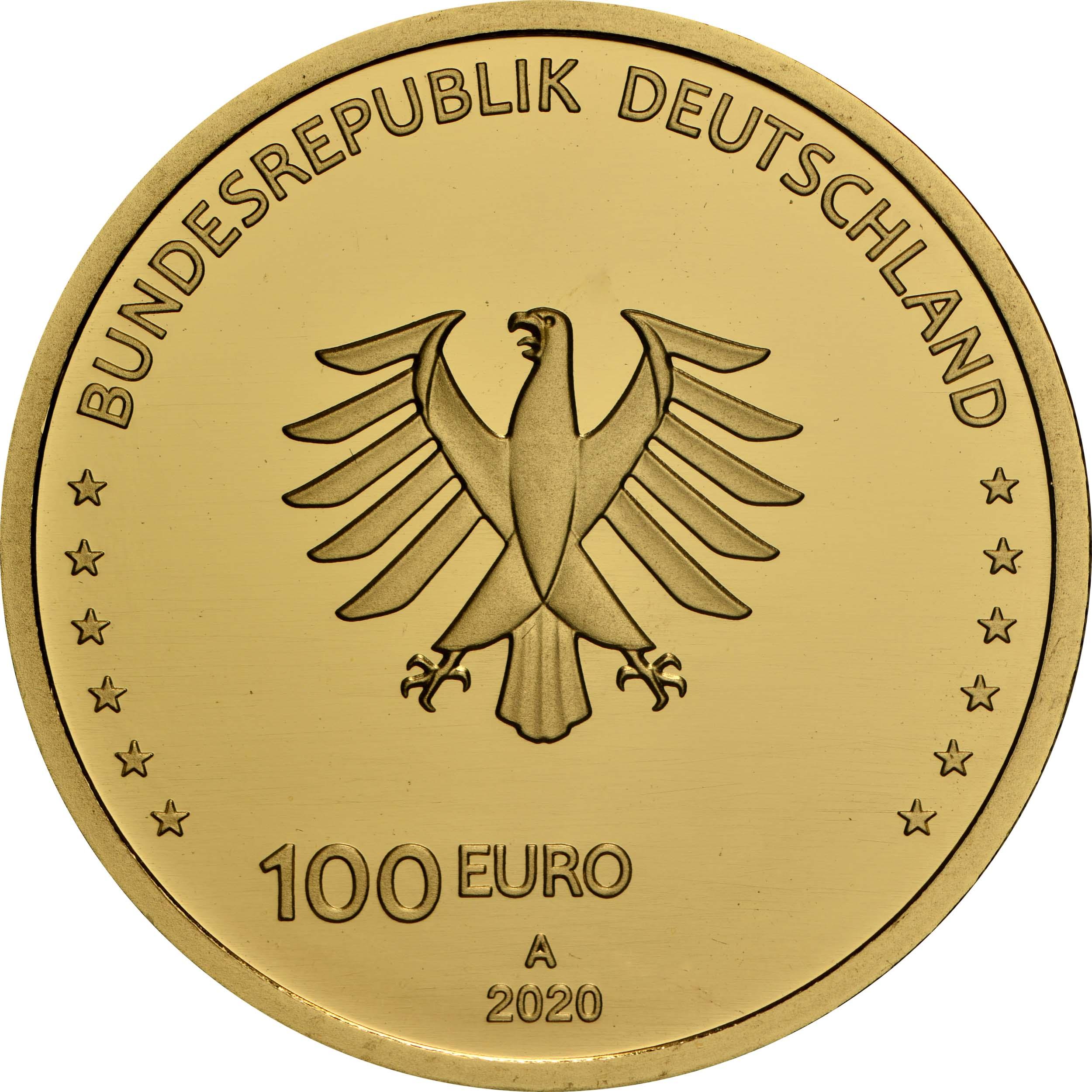 Rückseite:Deutschland : 100 Euro Einigkeit Komplettsatz 5 Münzen A-J  2020 Stgl.