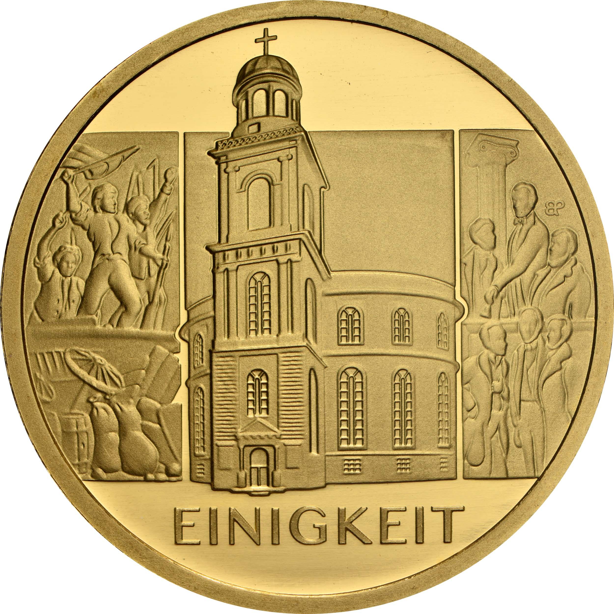 Vorderseite:Deutschland : 100 Euro Einigkeit Komplettsatz 5 Münzen A-J  2020 Stgl.