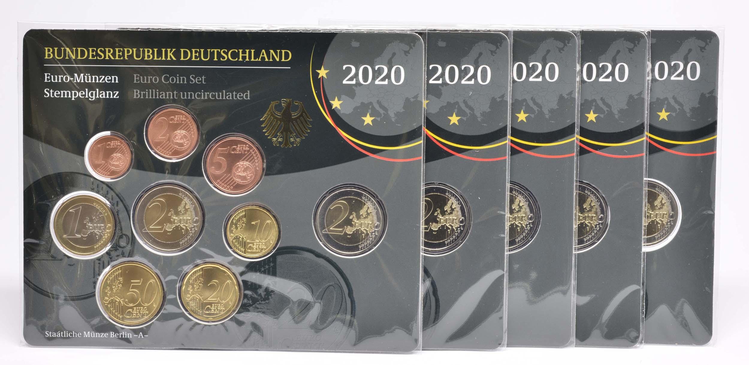 Lieferumfang:Deutschland : 29,4 Euro KMS Deutschland mit zusätzlicher Gedenkmünze komplett A-J   2020 Stgl.