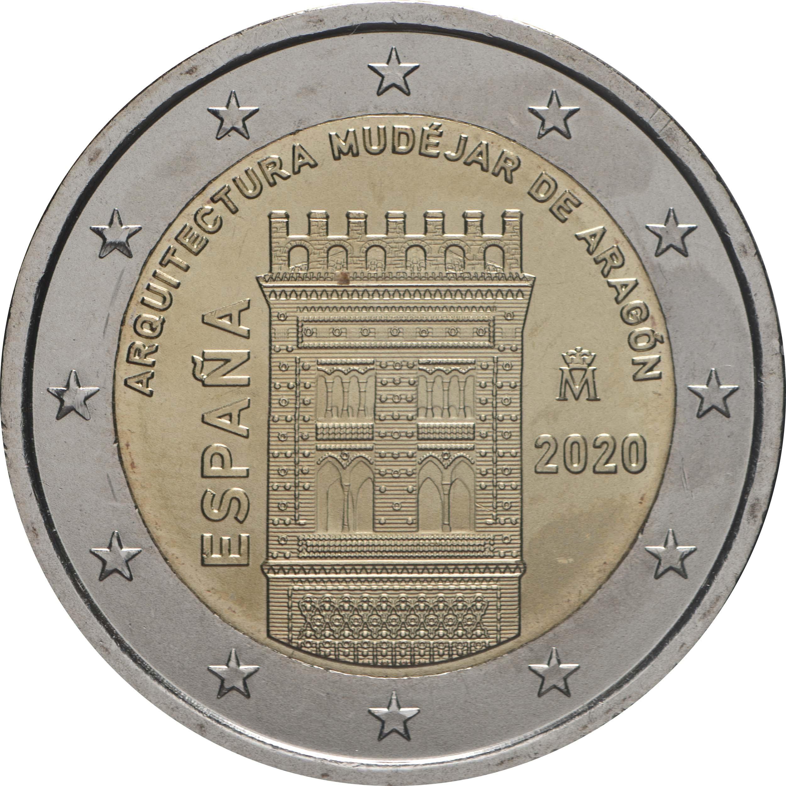 Rückseite:Spanien : 2 Euro Architektur der Mudéjaren in Aragón  2020 bfr