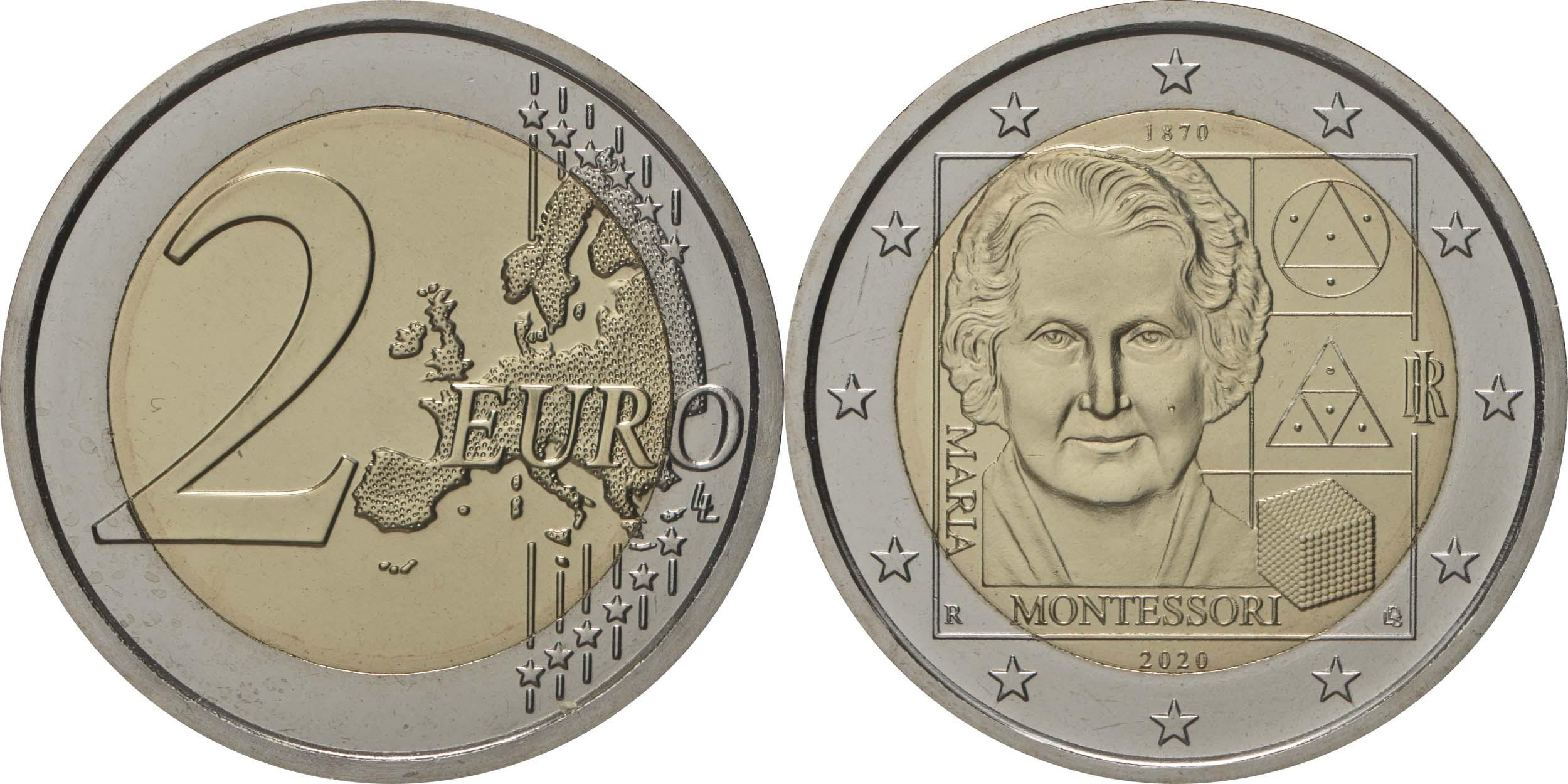 Lieferumfang:Italien : 2 Euro 150. Geburtstag von Maria Montessori  2020 bfr