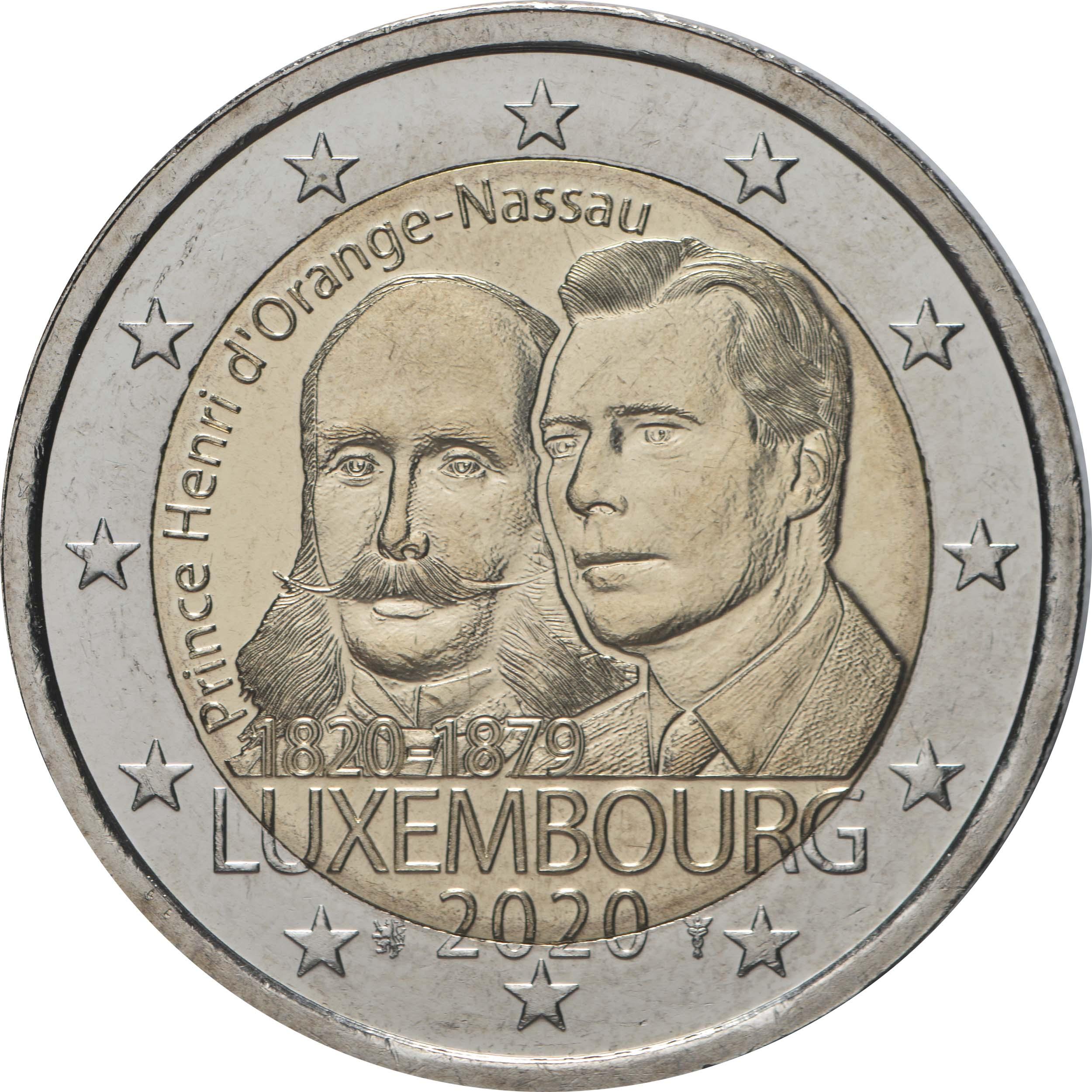 Rückseite:Luxemburg : 2 Euro 200. Geburtstag von Prinz Heinrich von Oranien-Nassau  2020 bfr