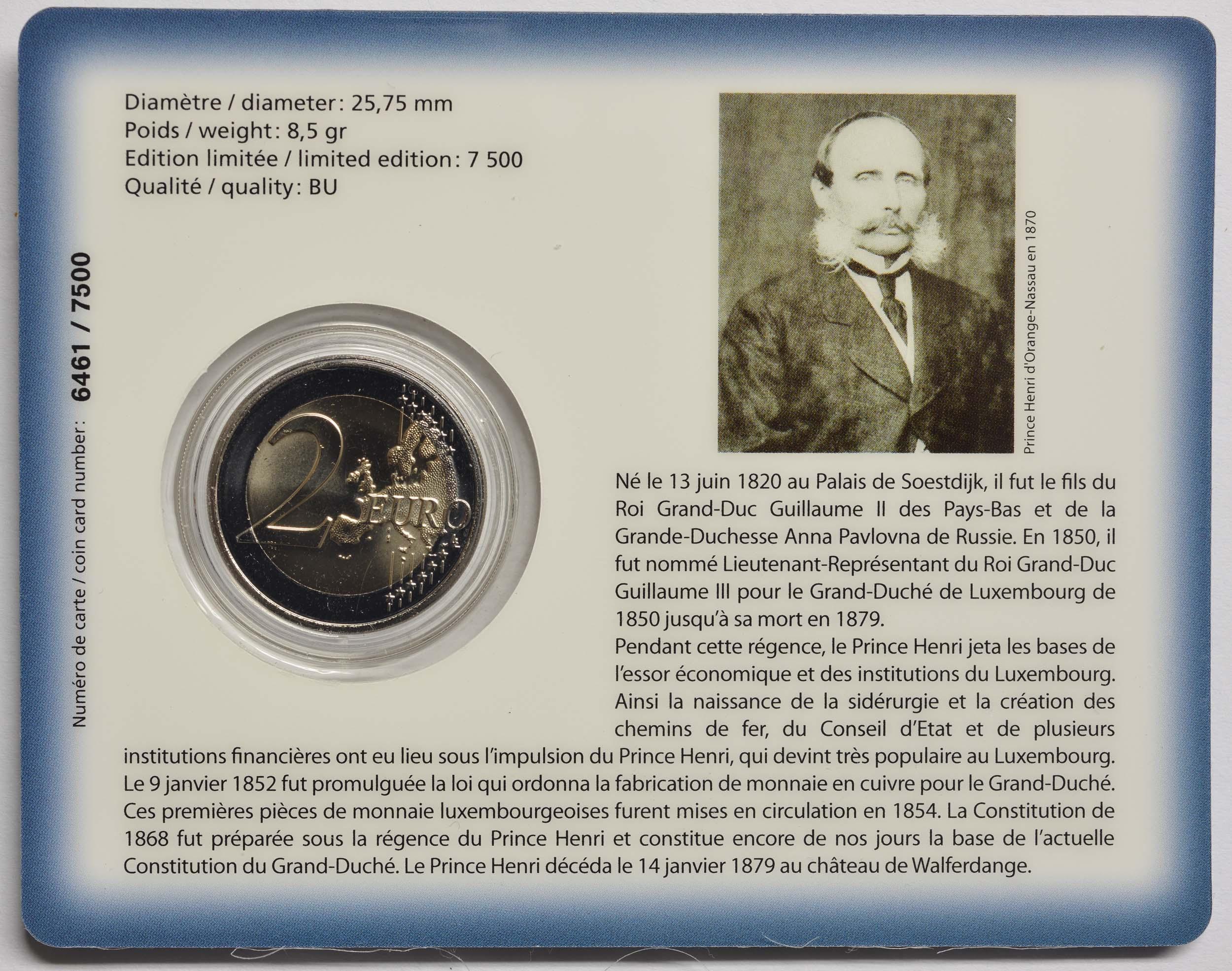Zertifikat:Luxemburg : 2 Euro 200. Geburtstag von Prinz Heinrich von Oranien-Nassau Münzzeichen Brücke  2020 Stgl.