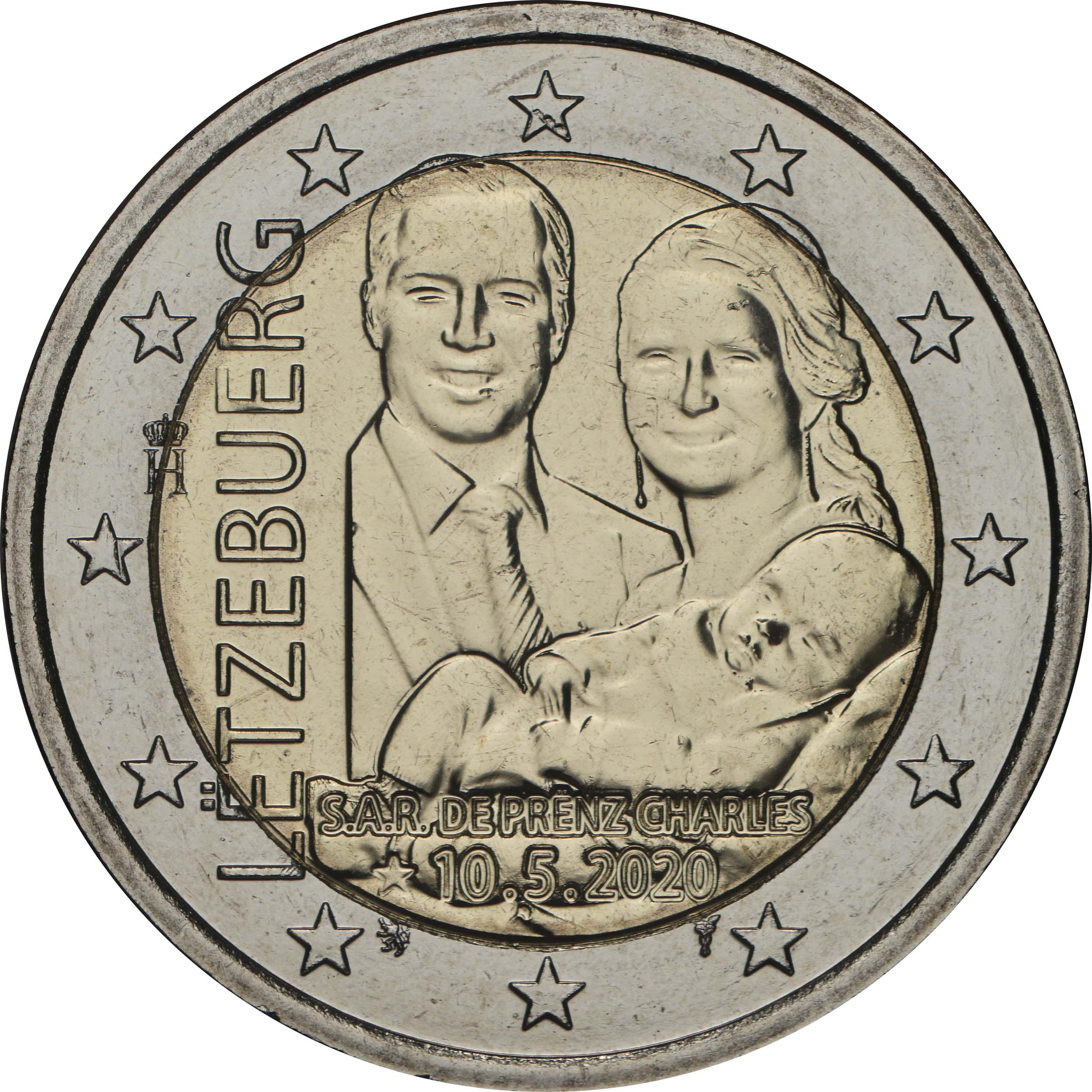 Rückseite:Luxemburg : 2 Euro Prinz Charles / Reliefprägung  2020 bfr