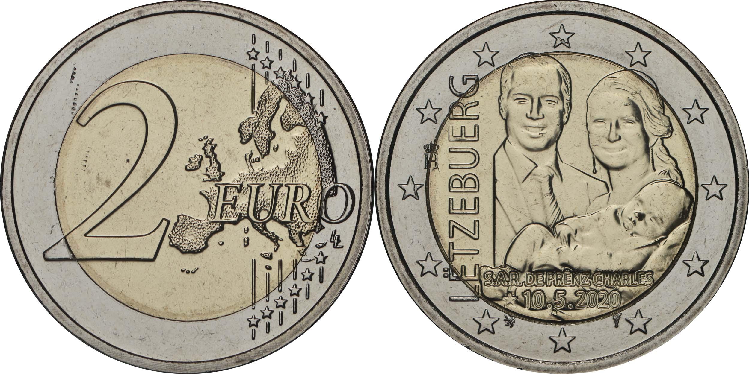 Lieferumfang:Luxemburg : 2 Euro Prinz Charles / Reliefprägung  2020 bfr
