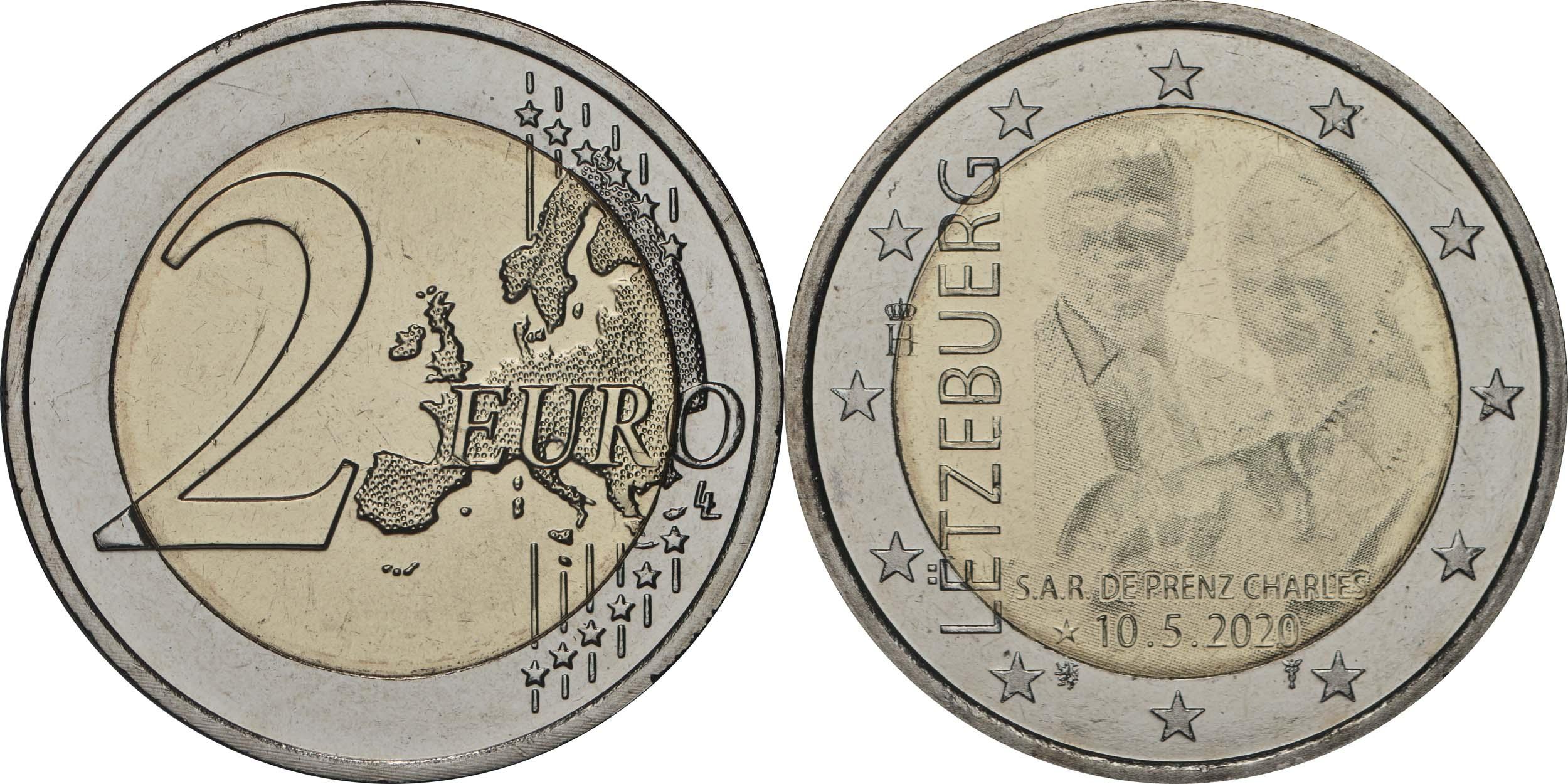Lieferumfang:Luxemburg : 2 Euro Prinz Charles / Hologramm  2020 bfr