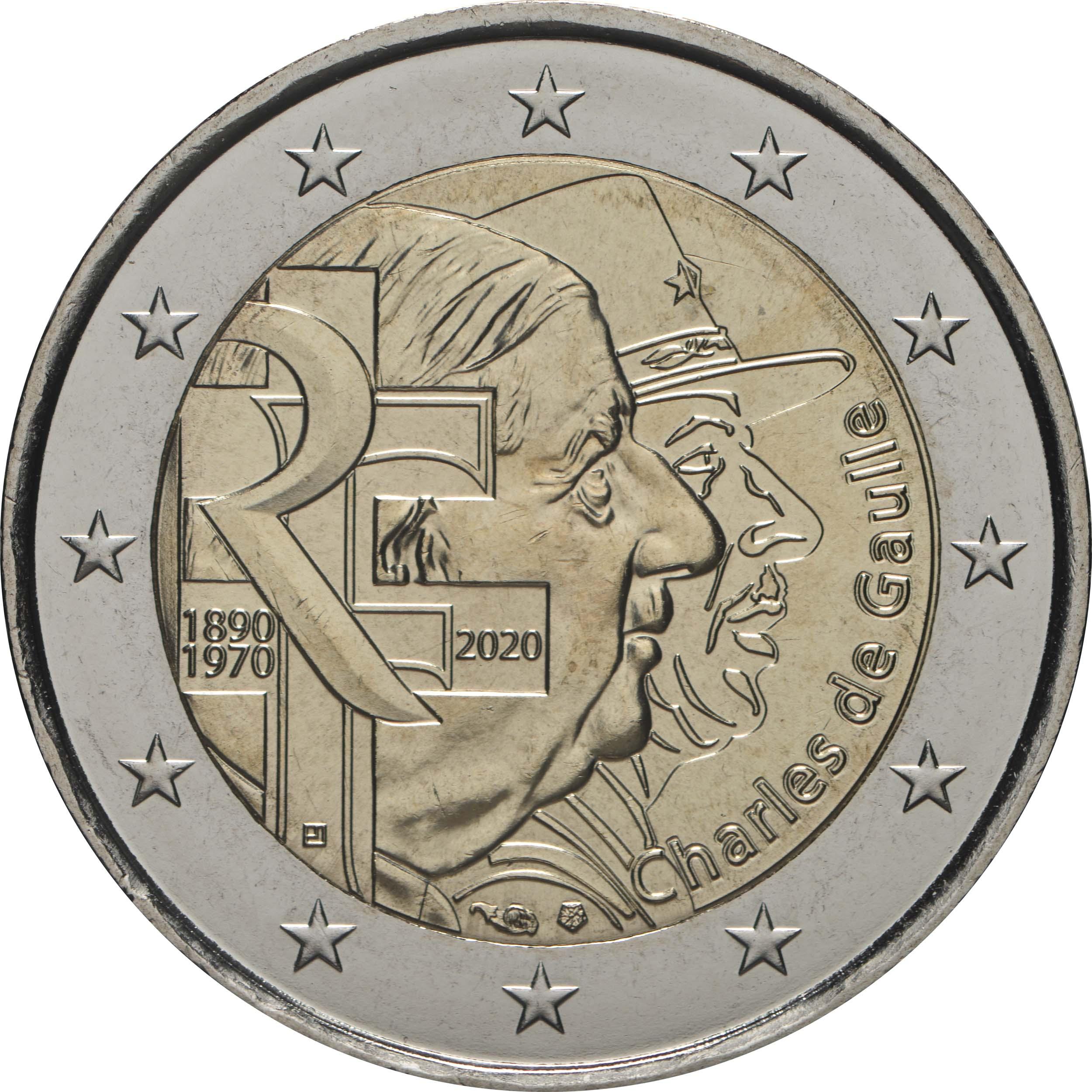 Rückseite:Frankreich : 2 Euro Charles de Gaulle  2020 bfr