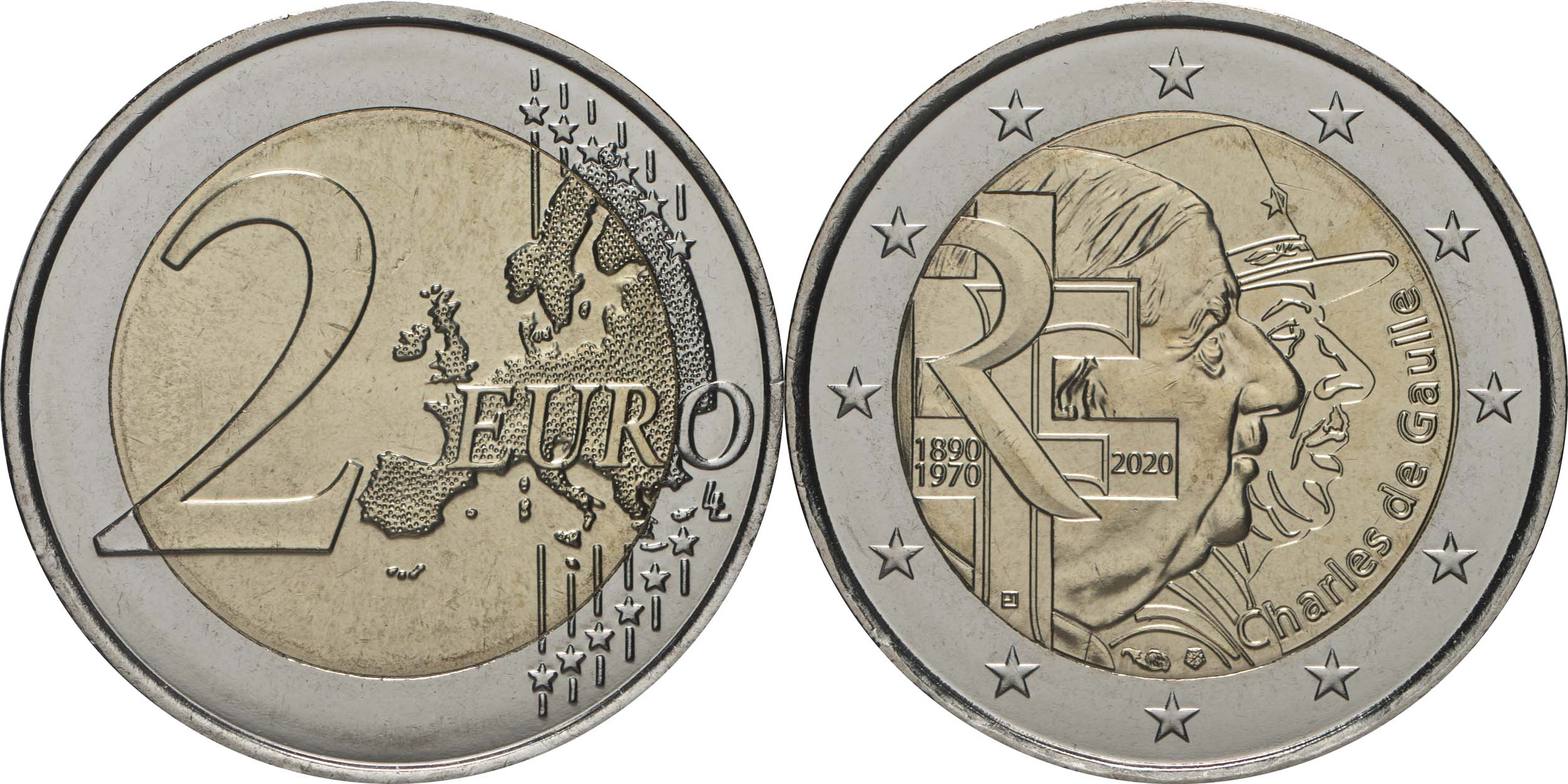 Lieferumfang:Frankreich : 2 Euro Charles de Gaulle  2020 bfr