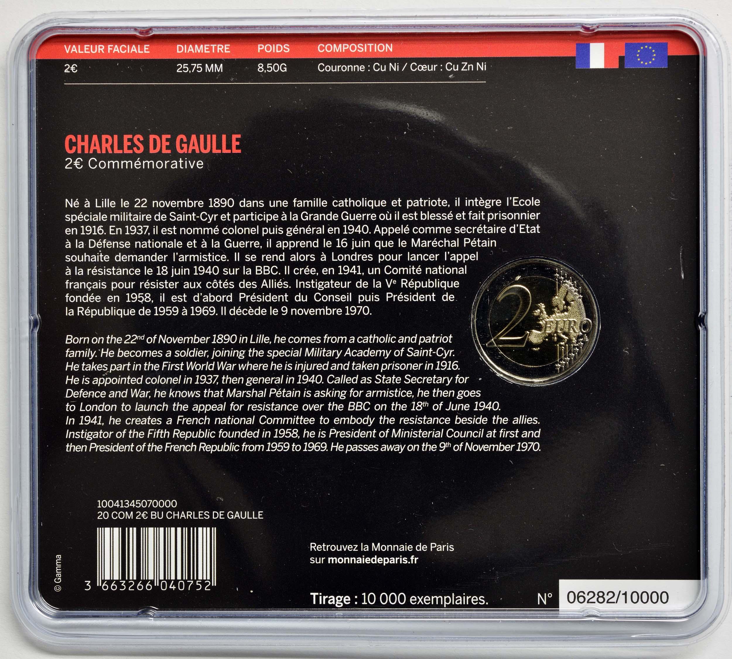 Zertifikat:Frankreich : 2 Euro Charles de Gaulle  2020 Stgl.